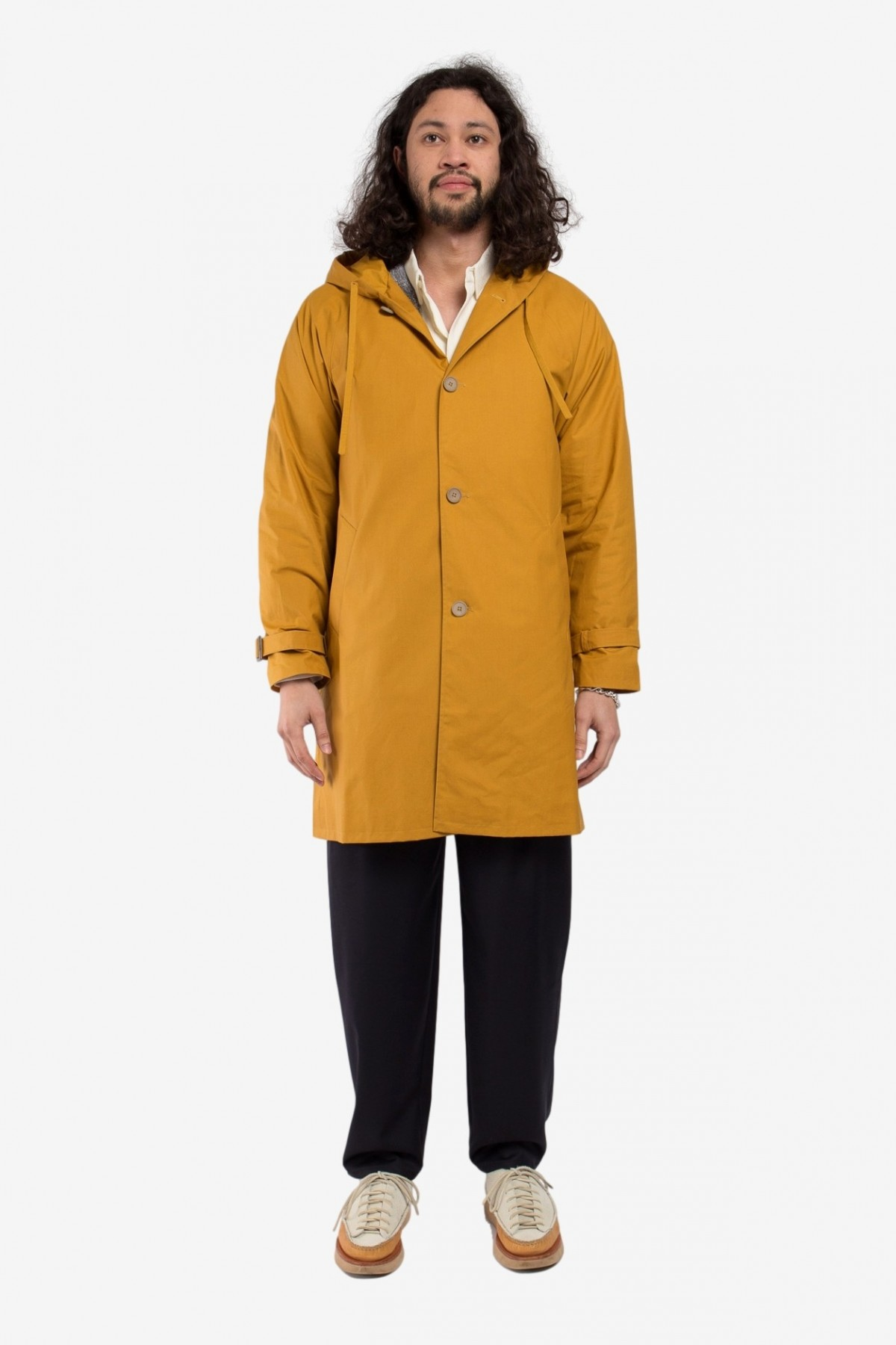 A Kind of Guise Champara Parka in Waxed Turmeric