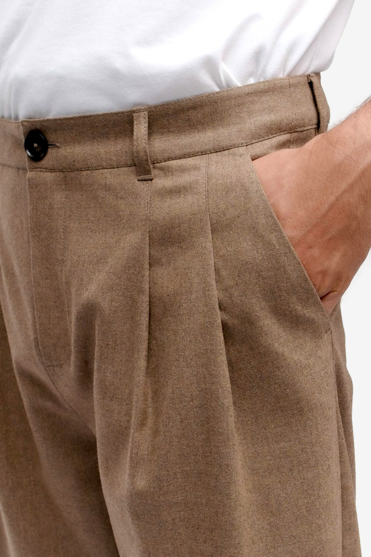 A Kind of Guise Pleated Wide Trousers in Canyon Melange