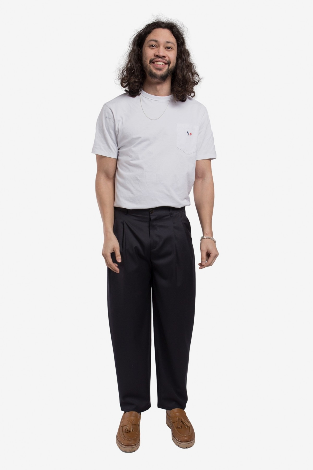 A Kind of Guise Pleated Wide Trousers in Midnight Navy