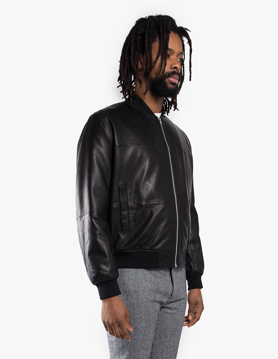 McQ Alexander McQueen Leather MA1 Jacket in Black