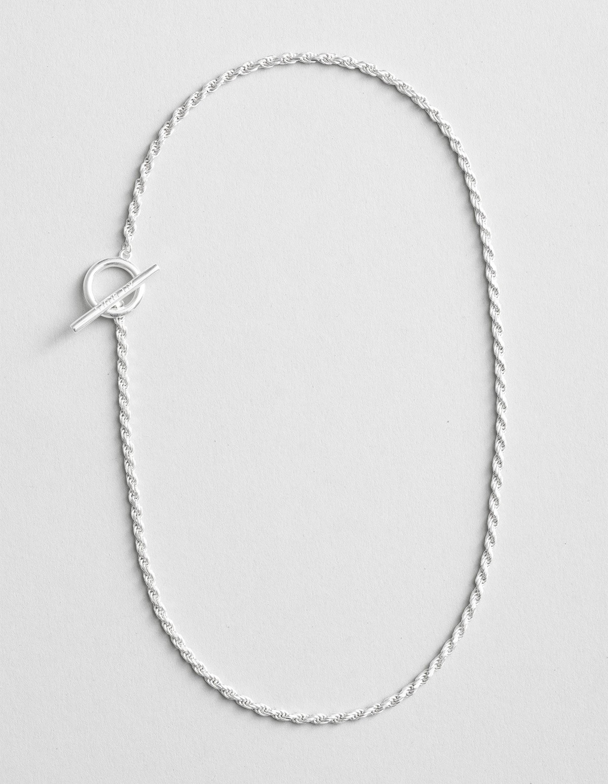 All Blues  Rope Necklace - Short  in Silver