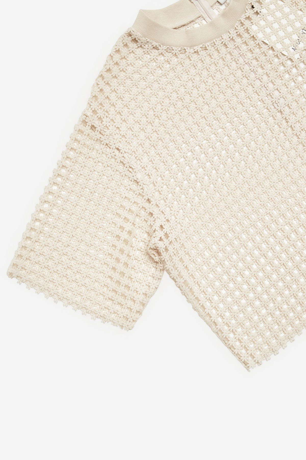 Amomento Flower Lace Crop Top in Ivory