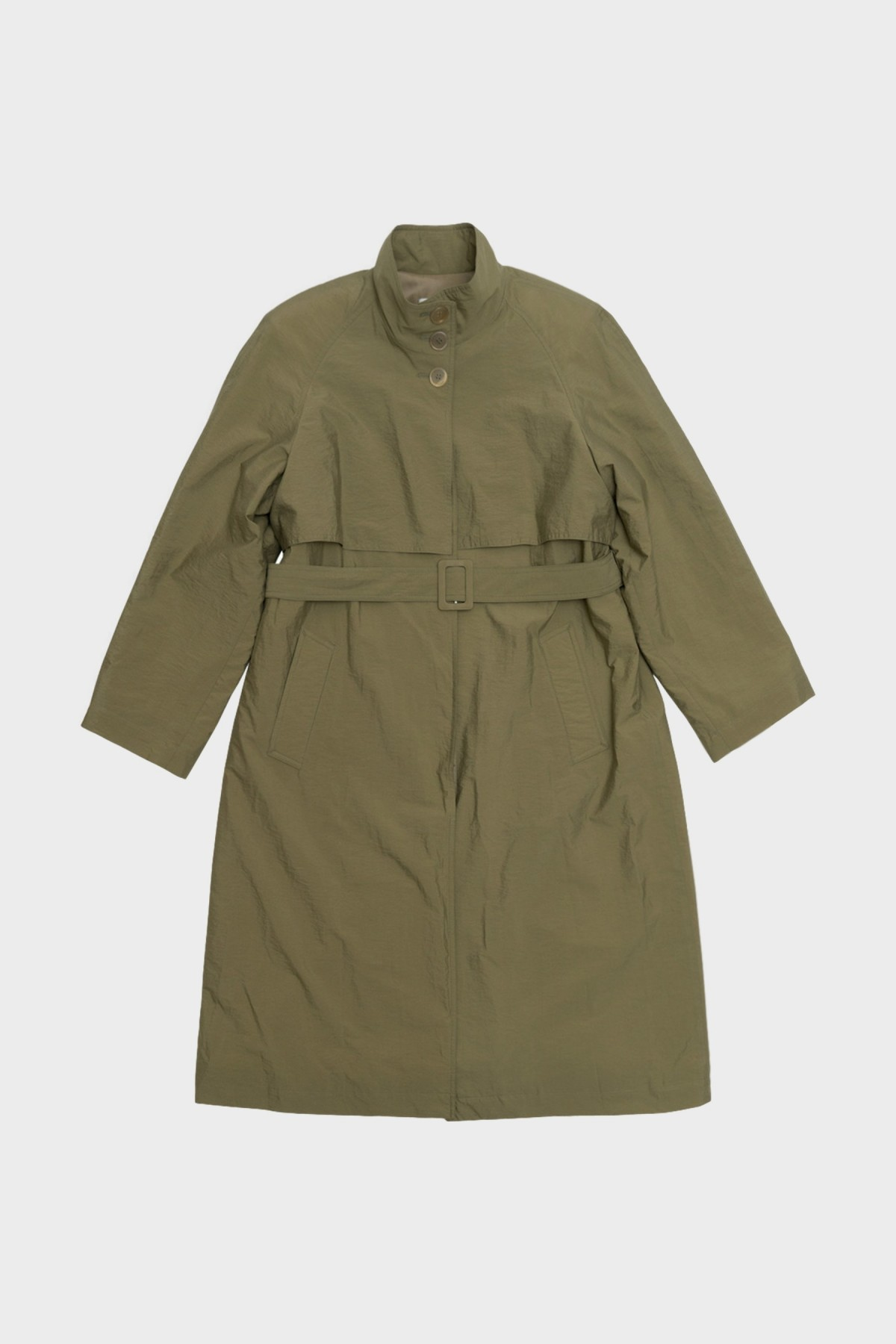 Amomento HIgh Neck Trench Coat  in Olive