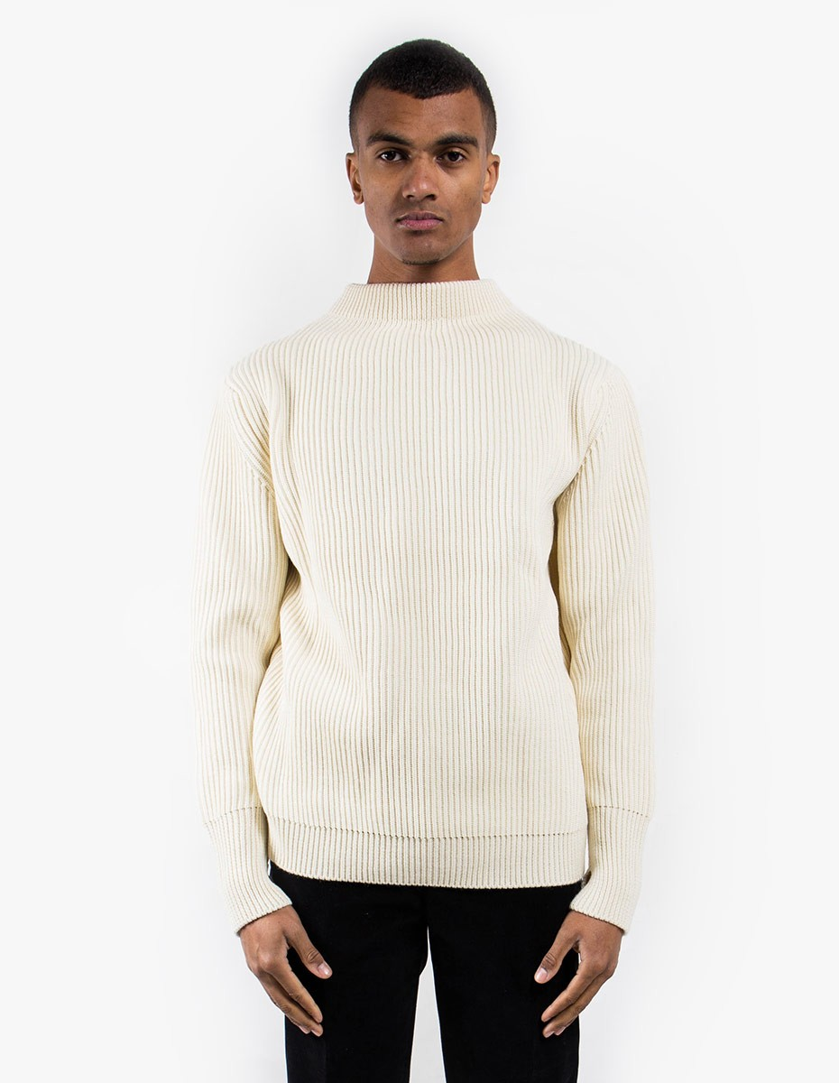 Andersen-Andersen Navy Crewneck Symmetrical in Off White