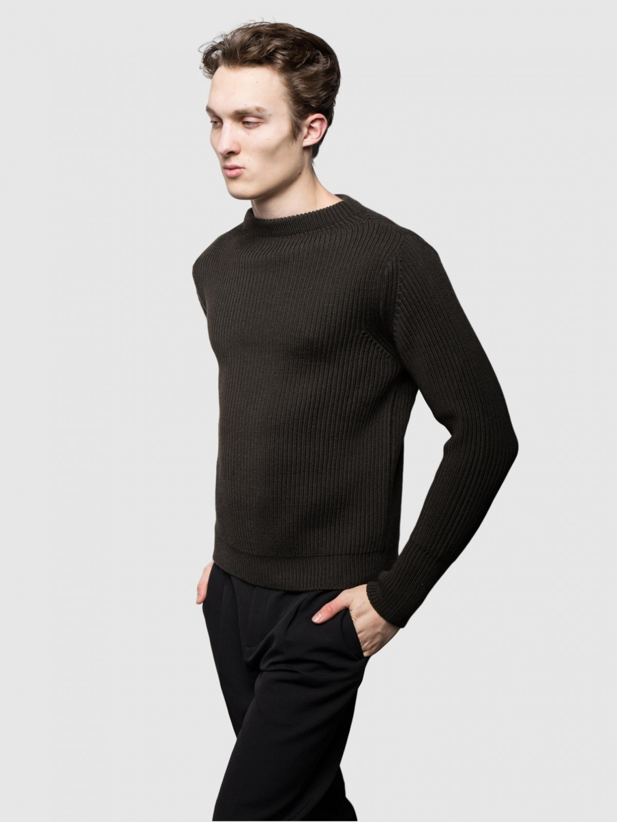 Andersen-Andersen Navy Crewneck Symmetrical in Hunting Green
