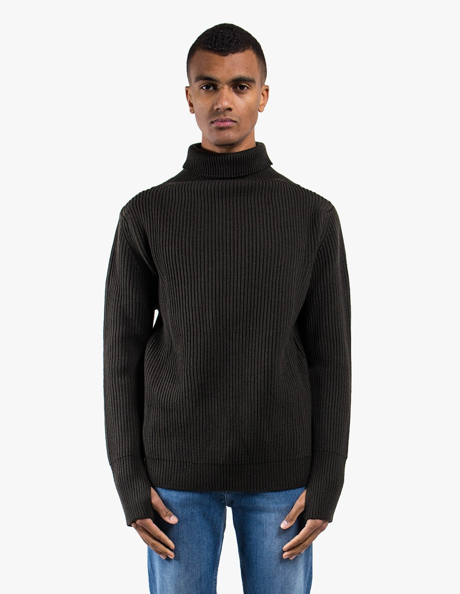 Andersen-Andersen Navy Turtleneck Symmetrical in Hunting Green