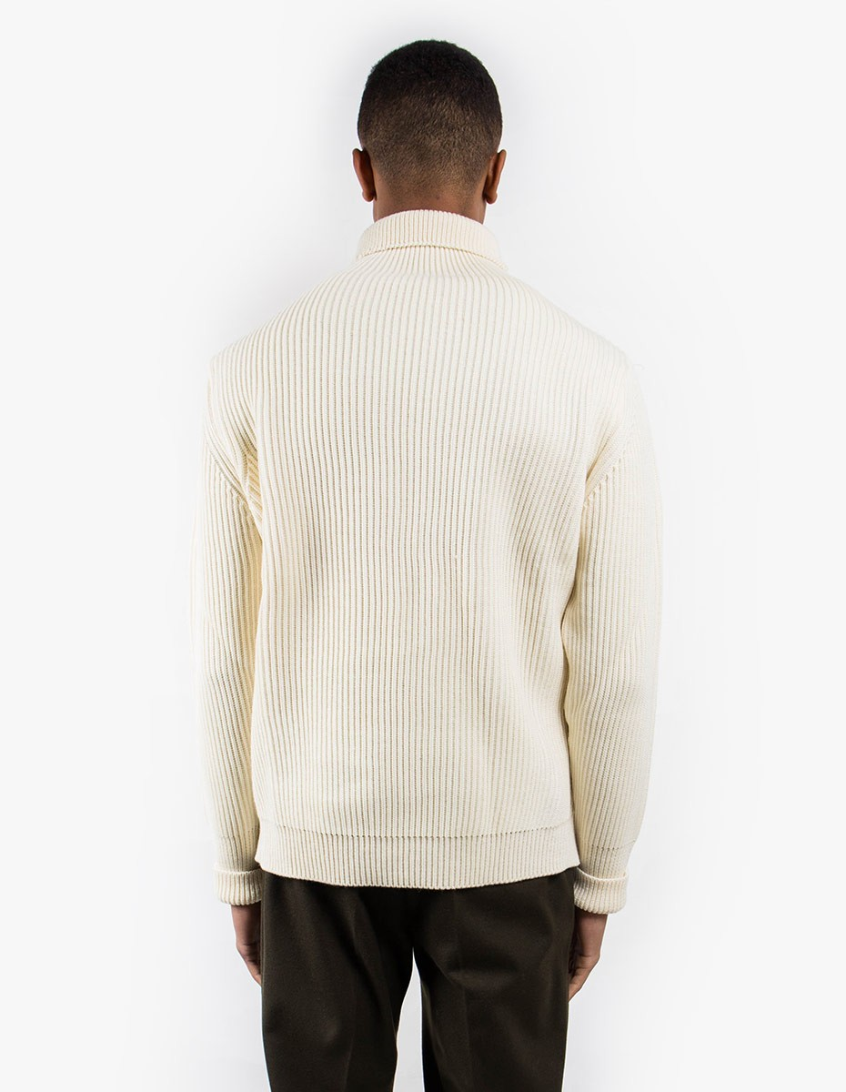 Andersen-Andersen Navy Turtleneck Symmetrical in Off White
