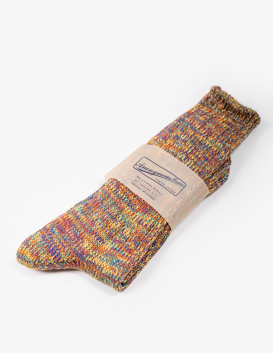 Anonymous Ism 5 Colour Mix Socks in Yellow & Purple