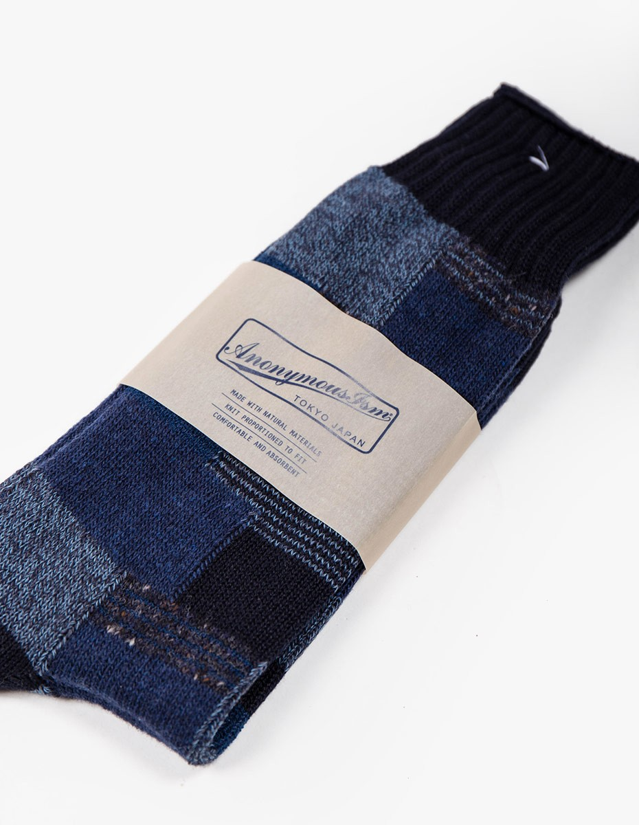 Anonymous Ism Patchwork Crew Socks in Navy