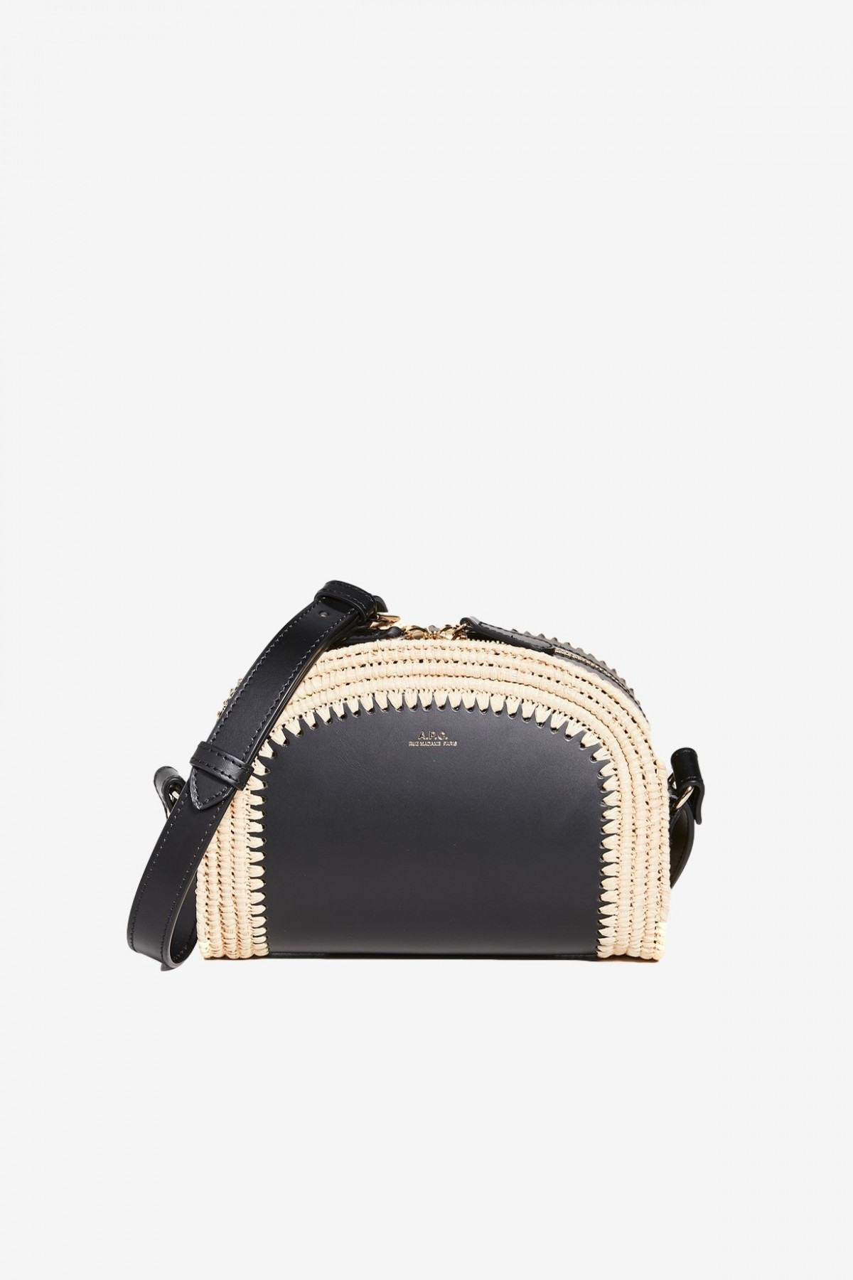 A.P.C. Sac Demi Lune Mini in Raffia Black