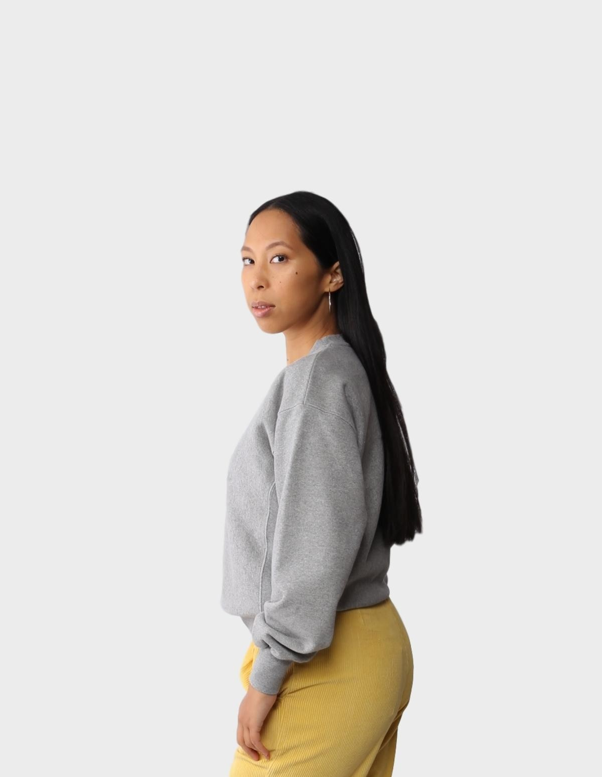 Aries Arise Embroidered Temple Sweat in Grey Marl