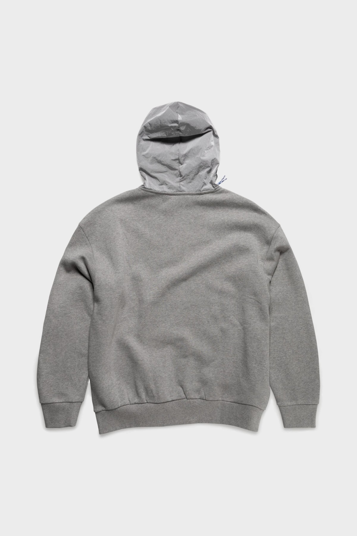 Aries Arise Hybrid Half Zip Hoodie in Grey Melange