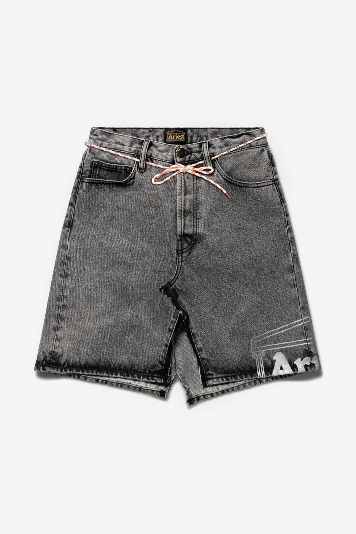 Aries Arise Temple Acid Wash Deconstructed Skirt in Grey