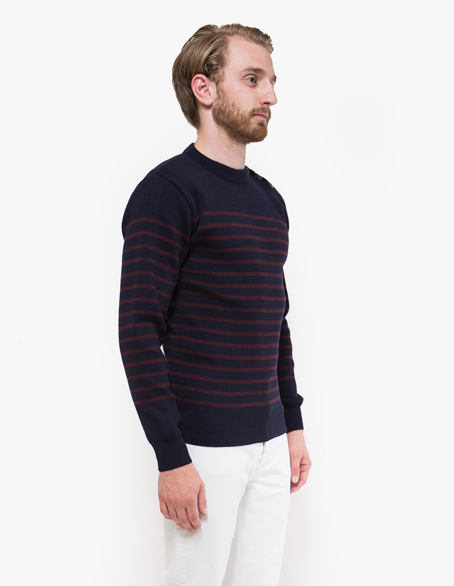 Armor Lux Heritage Sweat in Rich Navy / Penombre Red