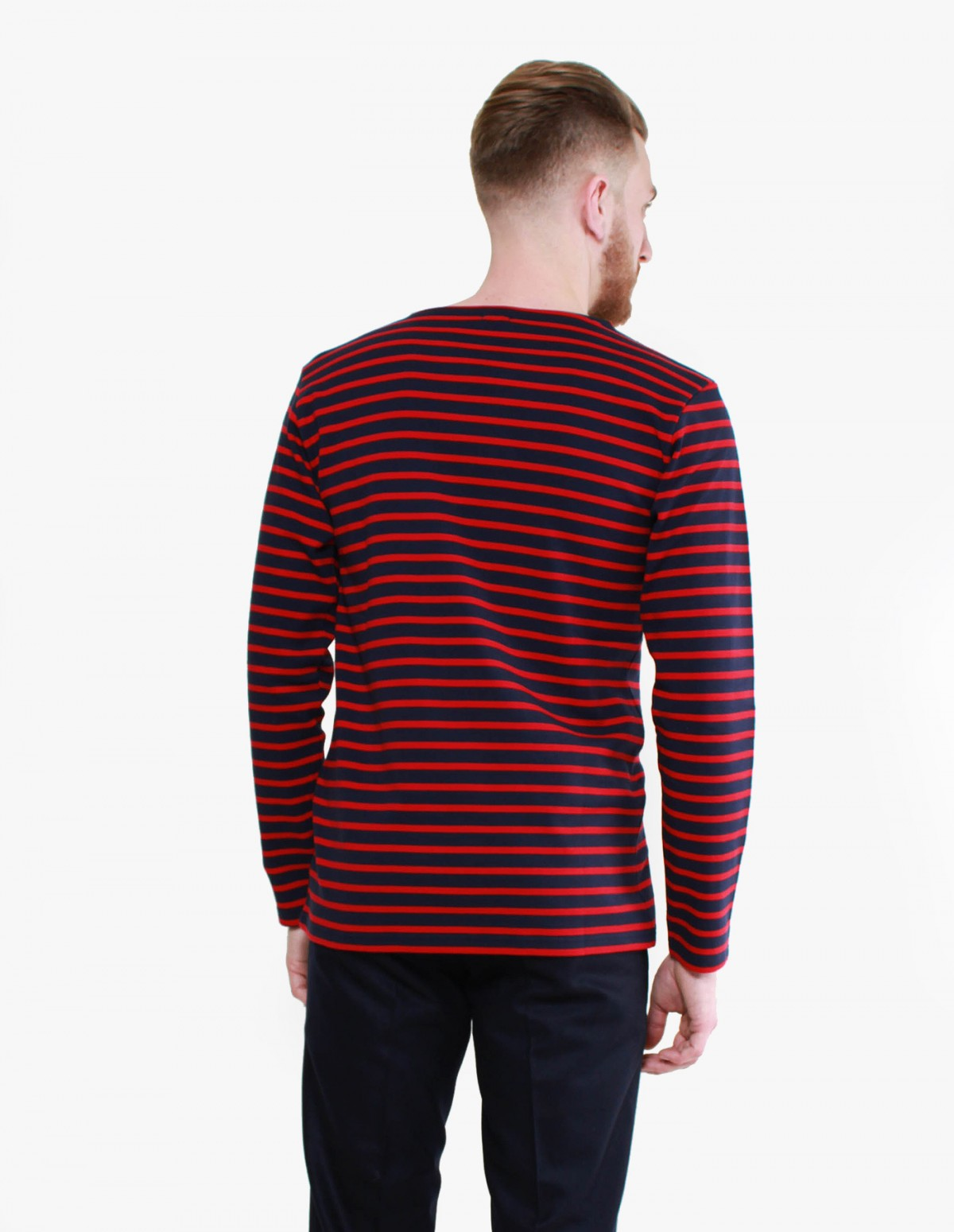 Armor Lux Marinière Long Sleeve in Navy / Braise