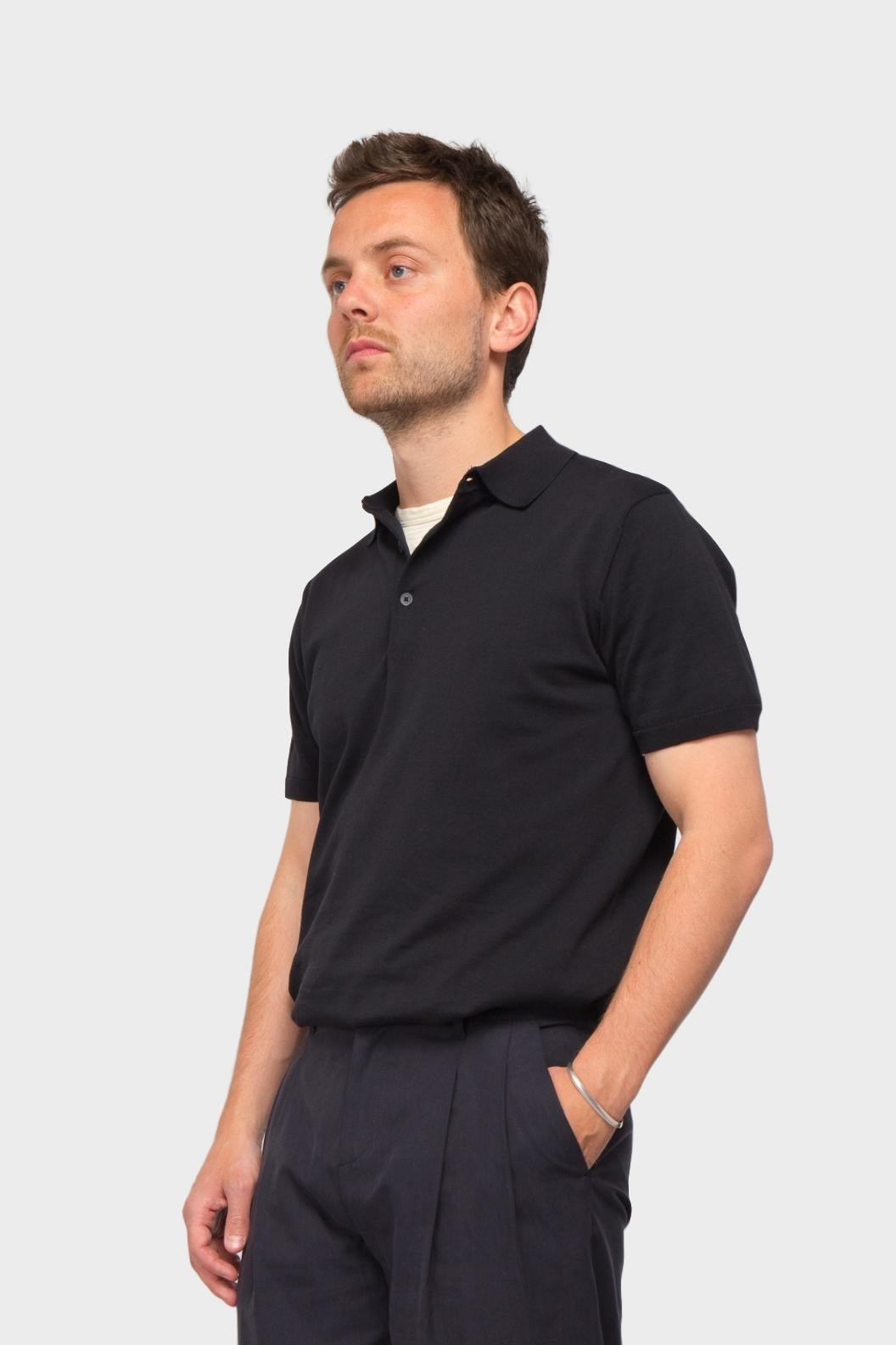 Aspesi Knitted Polo in Black