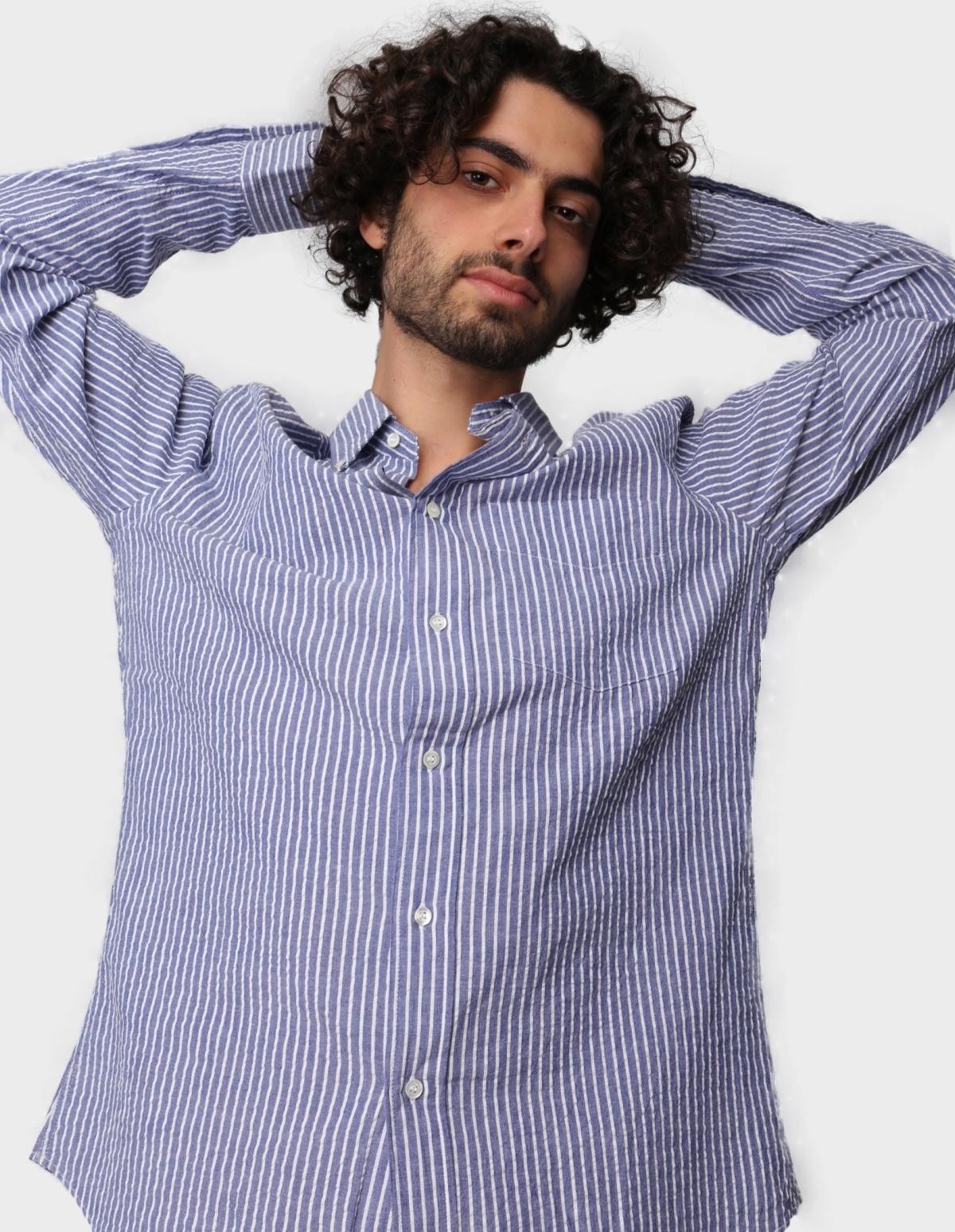 Aspesi Striped Seersucker Shirt in Navy