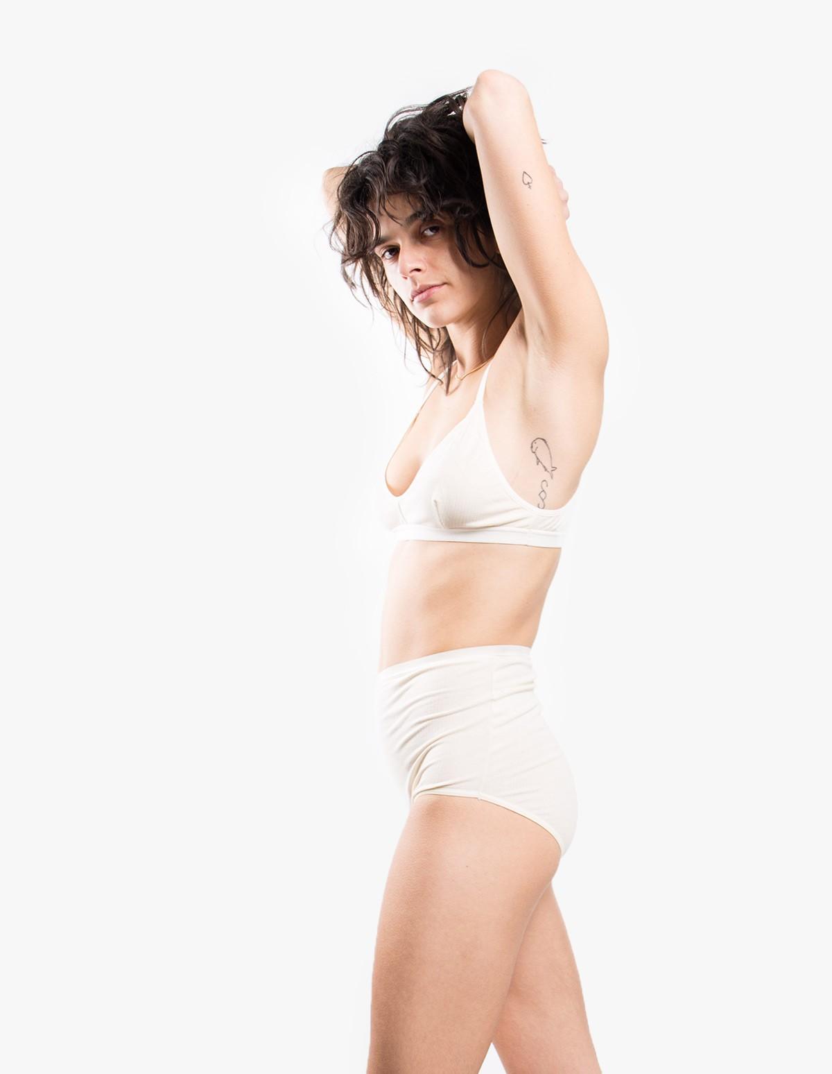 Baserange Highwaist Bell Pants in Cotton Rib Off White