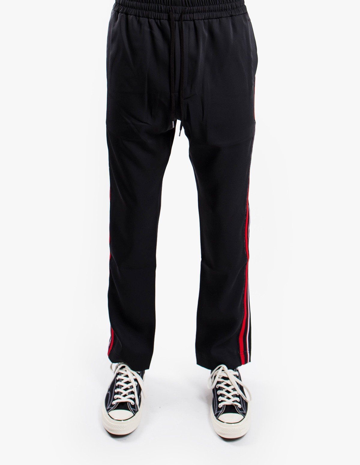 CMMN SWDN Buck Track Pants in Black / Red