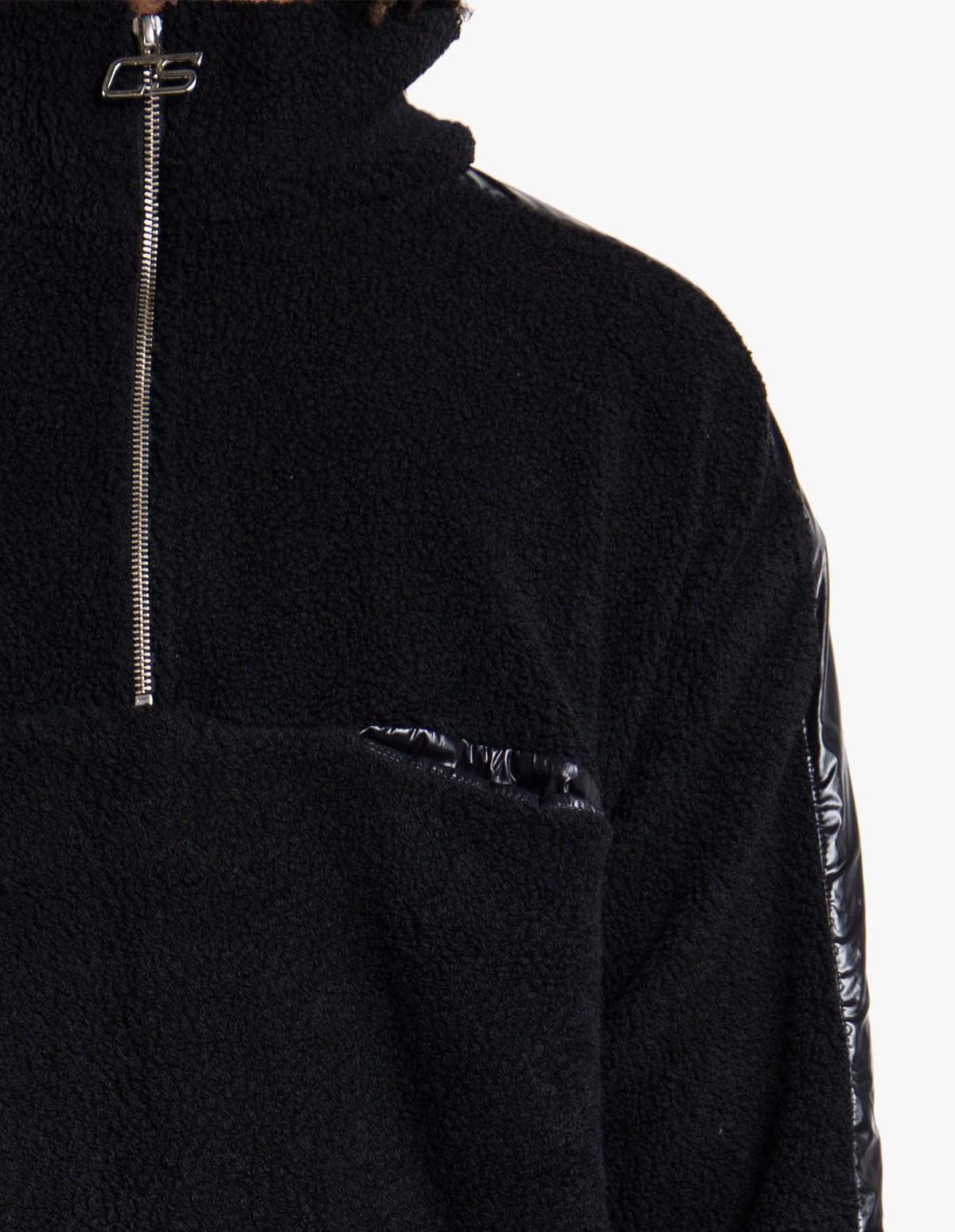 CMMN SWDN Leroy Fleece Jumper in Black