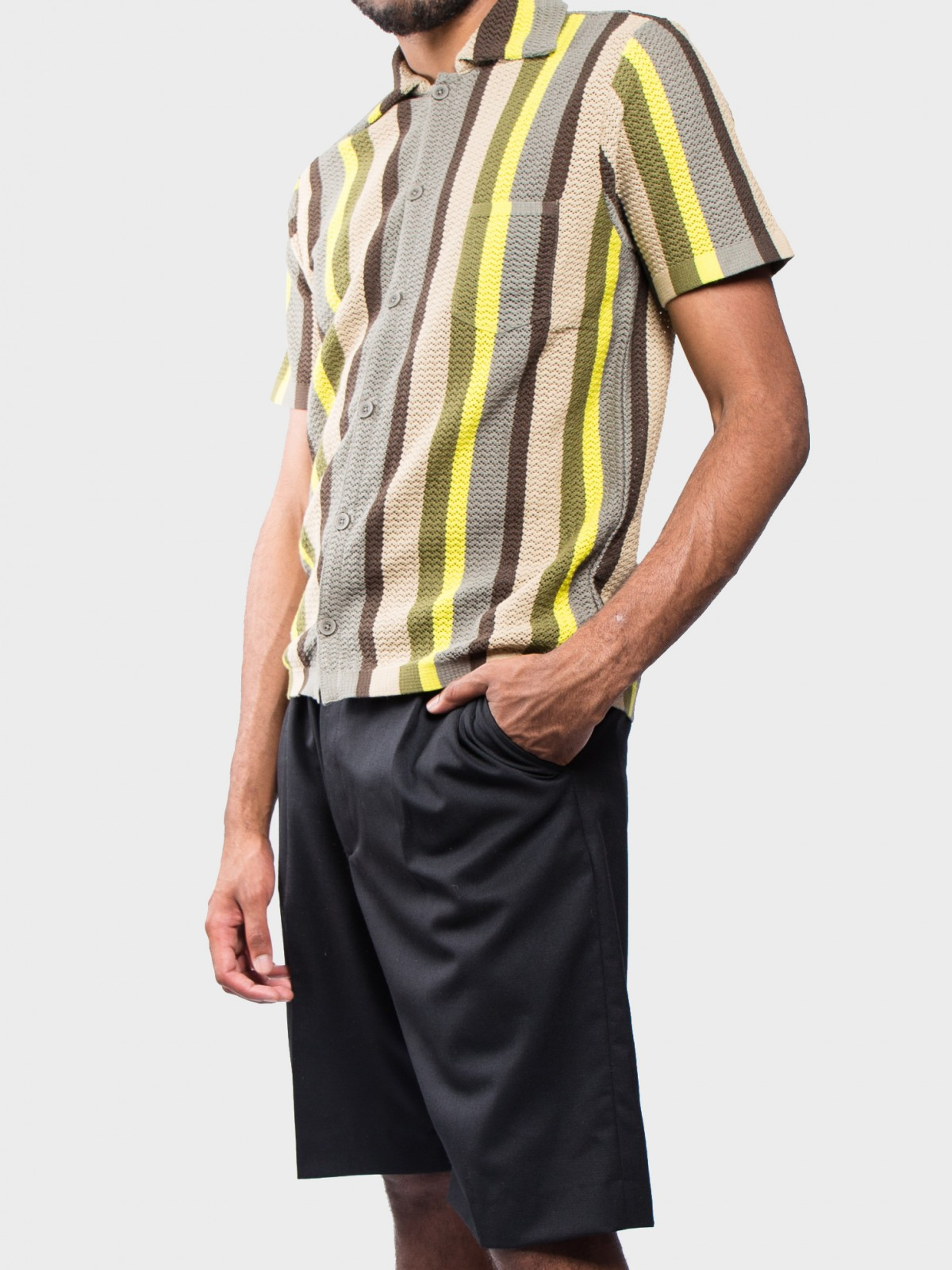 CMMN SWDN Wes Knitted Shirt in Multistripe