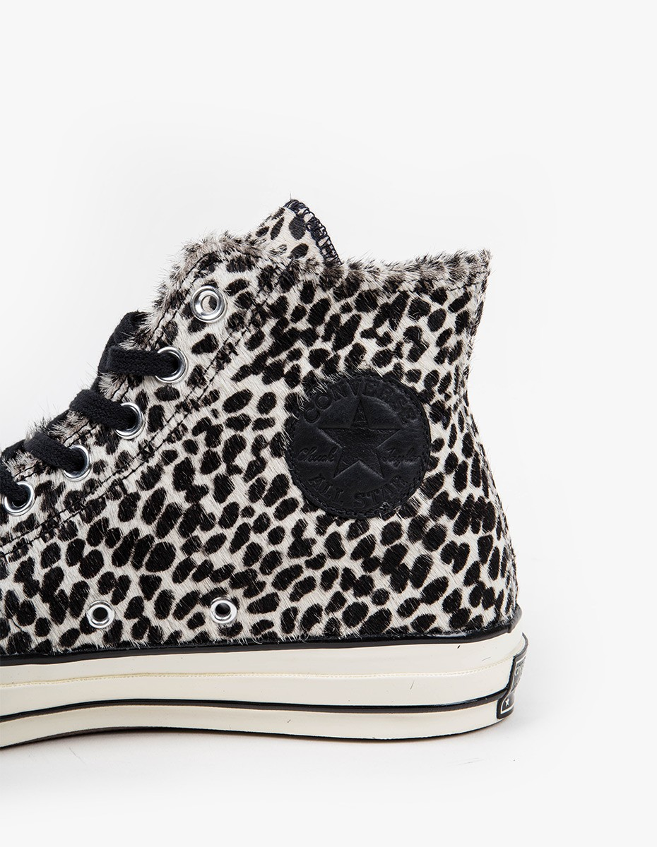 Converse Chuck Taylor High All Star '70 in Black Egret Leopard Ponyhair
