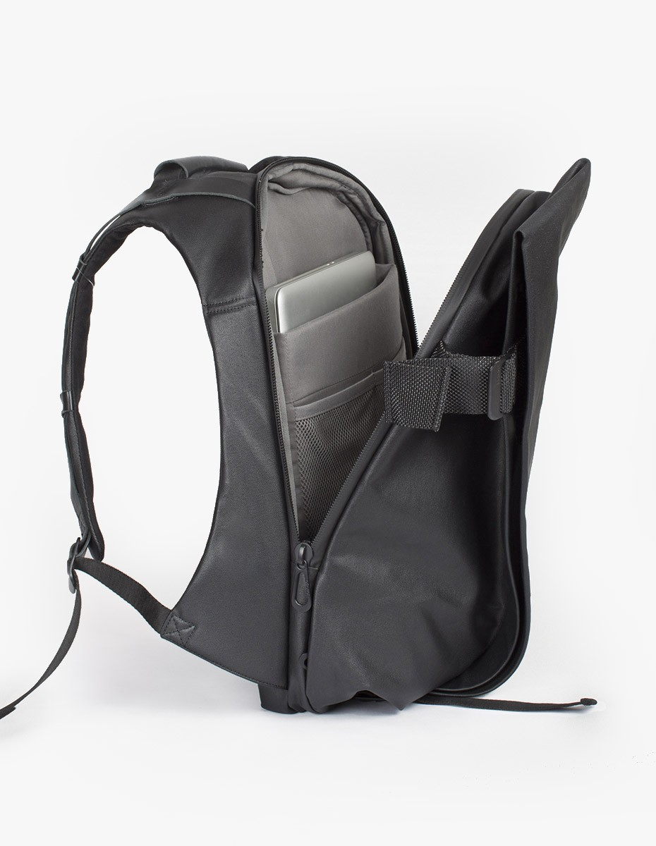 Cote & Ciel Isar Medium Rucksack in Black Coated Canvas