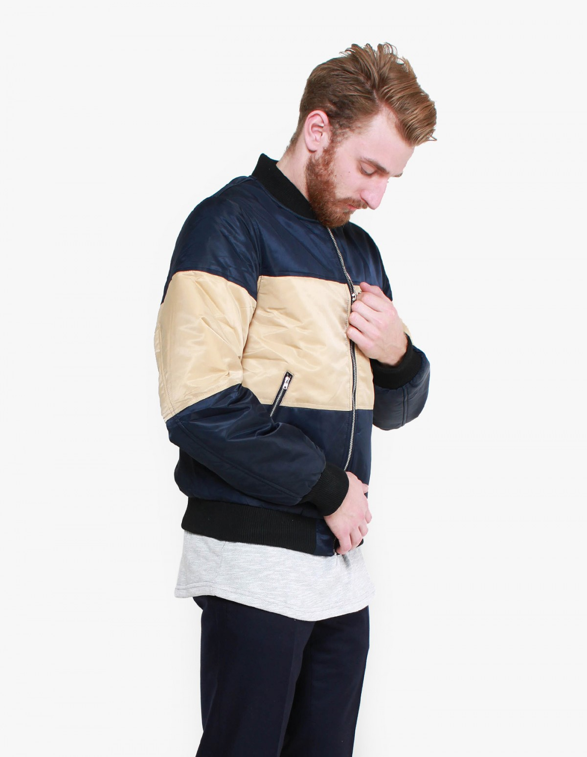 Daily Paper Panel Bomber in Navy / Beige