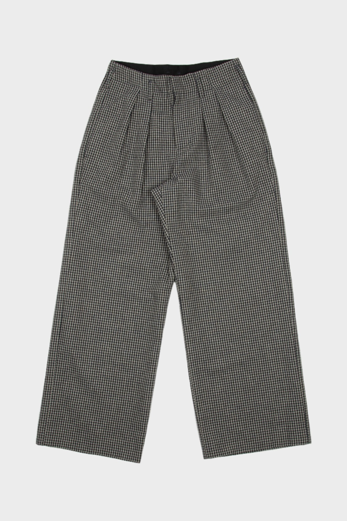 Folk Double Pleat Tailored Trousers in Navy Mini Check