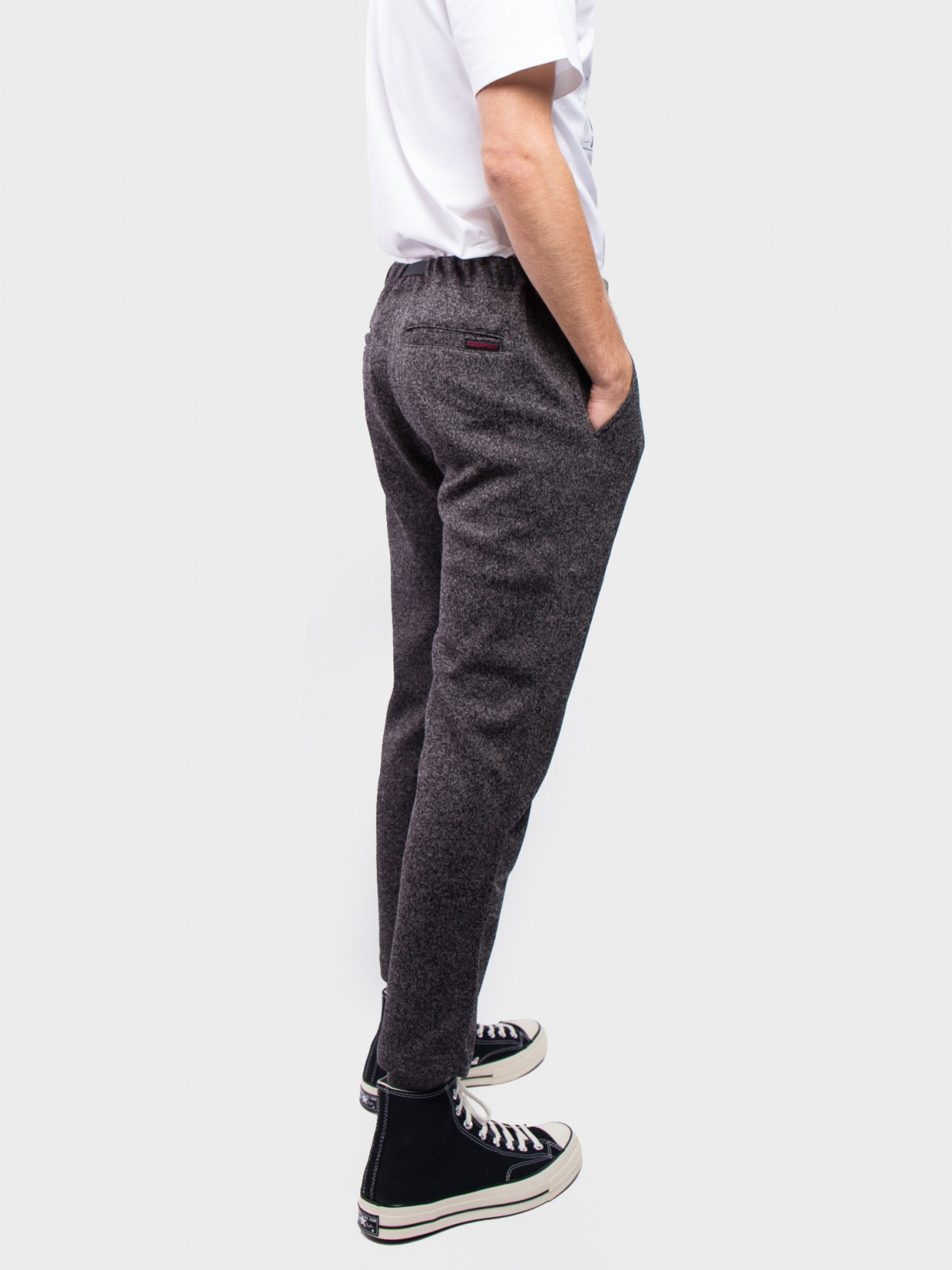 Gramicci Bonding Knit Fleece Slim Pants  in Charcoal Black