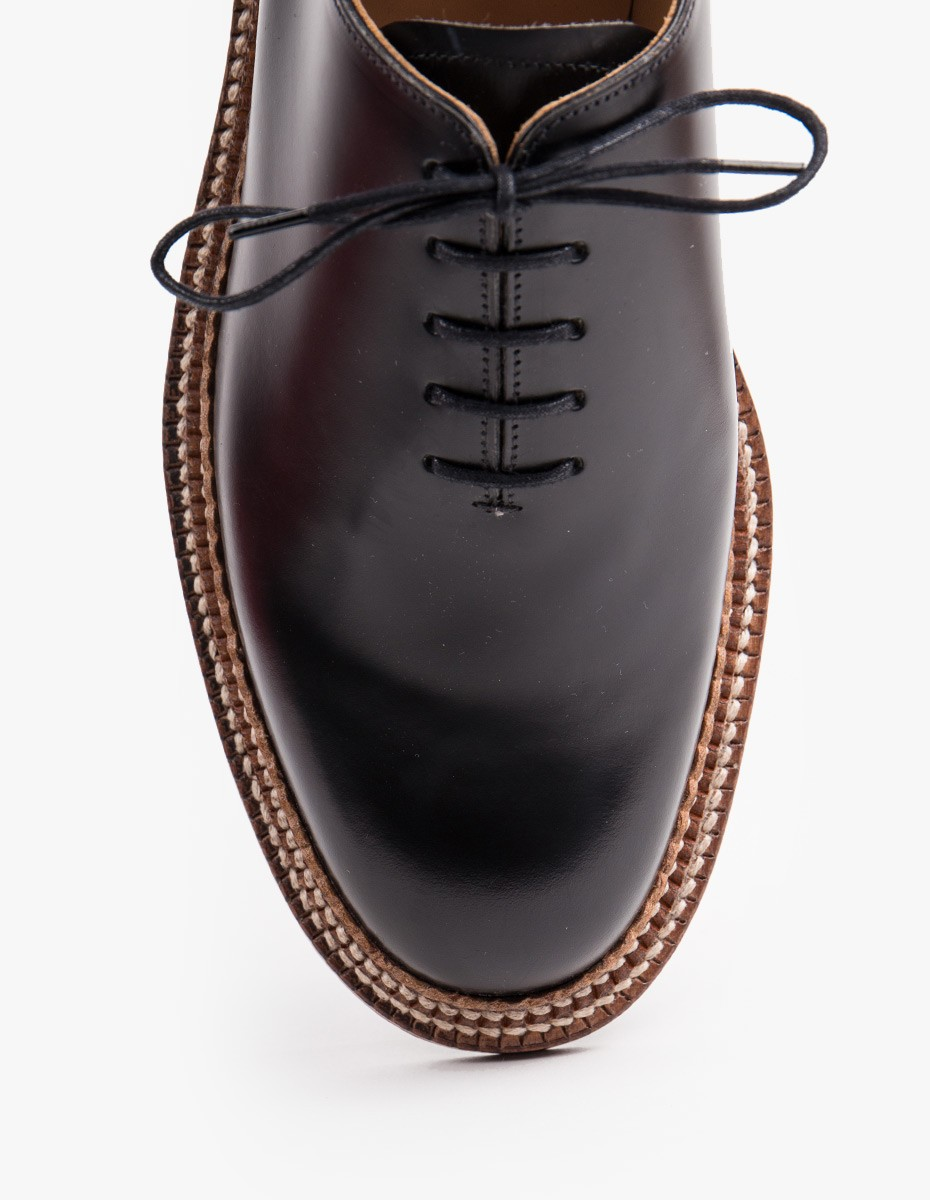 Grenson Michael Derby Shoe (Triple Welt) in Black Rub Off Leather