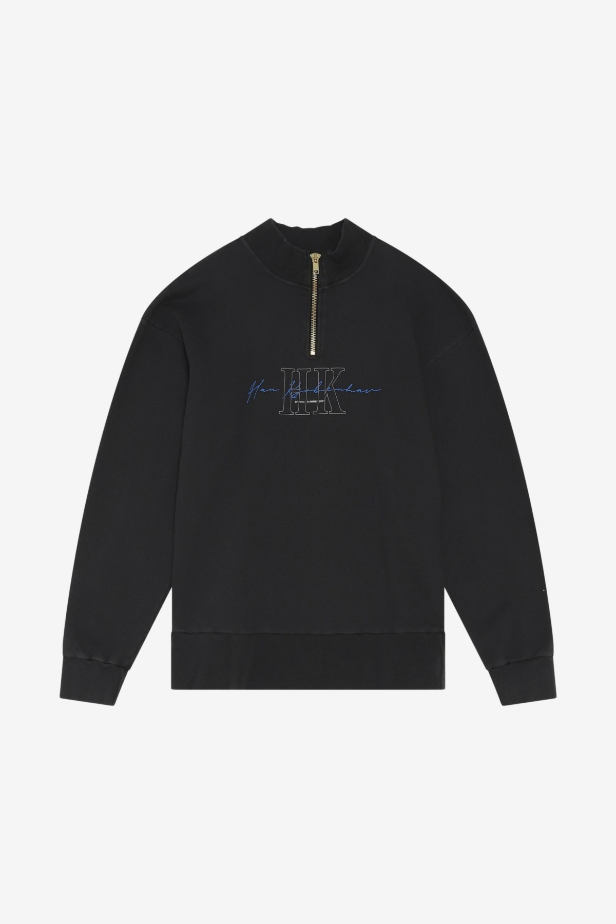 Han Kjøbenhavn Half Zip Sweat in Faded Black HK
