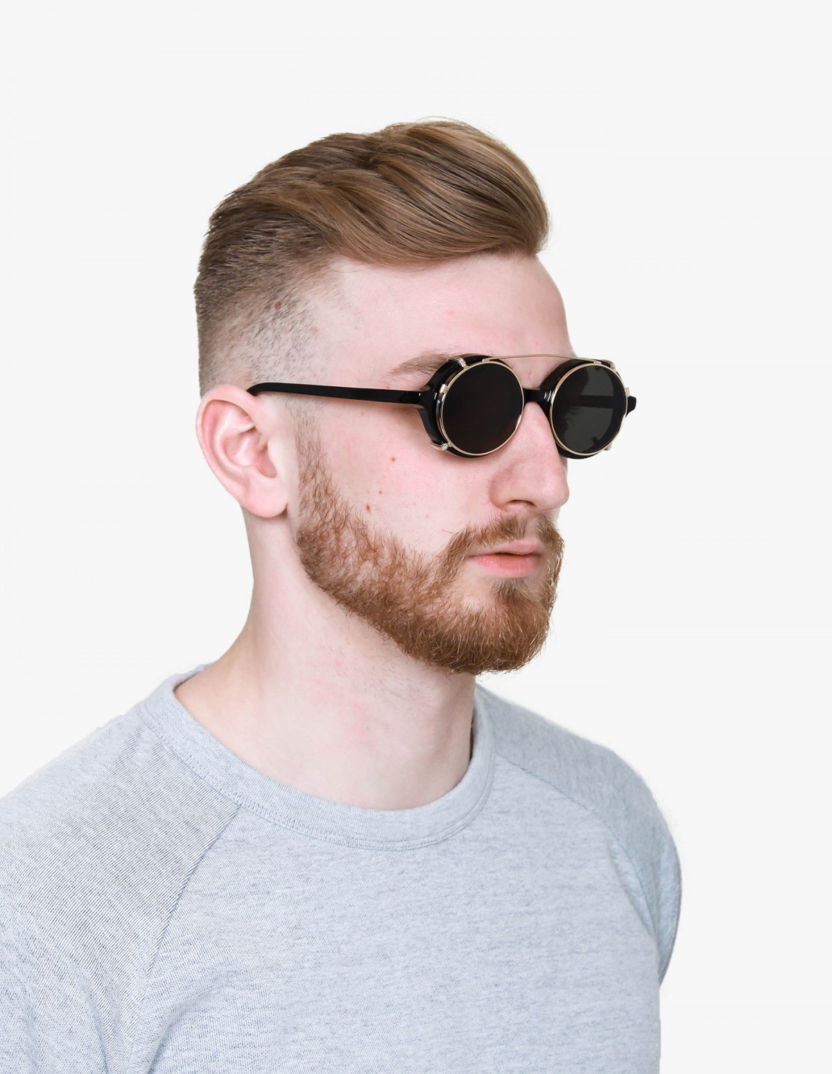 Han Kjøbenhavn Doc Clip-On Sunglasses in Black
