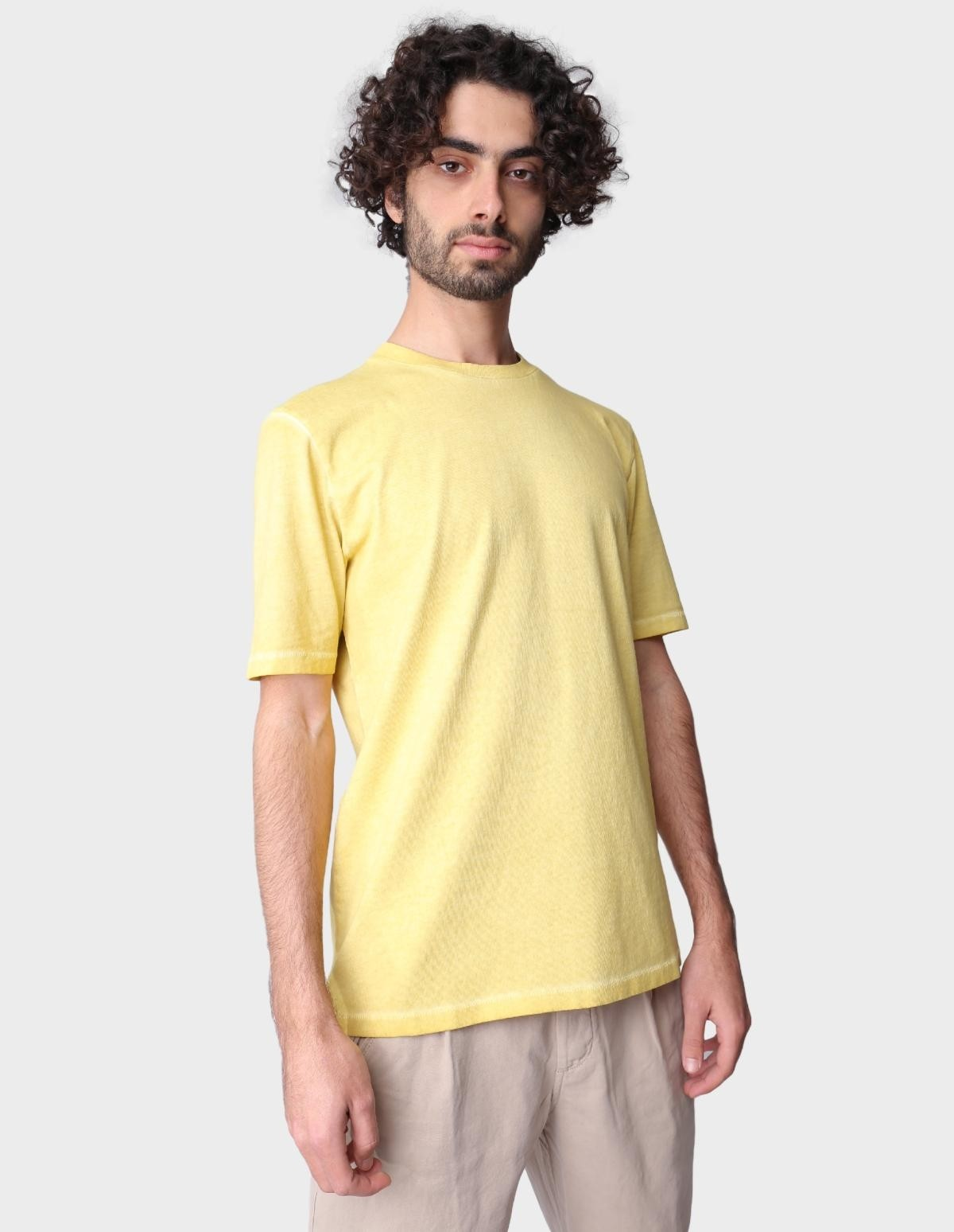 Folk Contrast Sleeve Tee in Cold Dye Light Gold