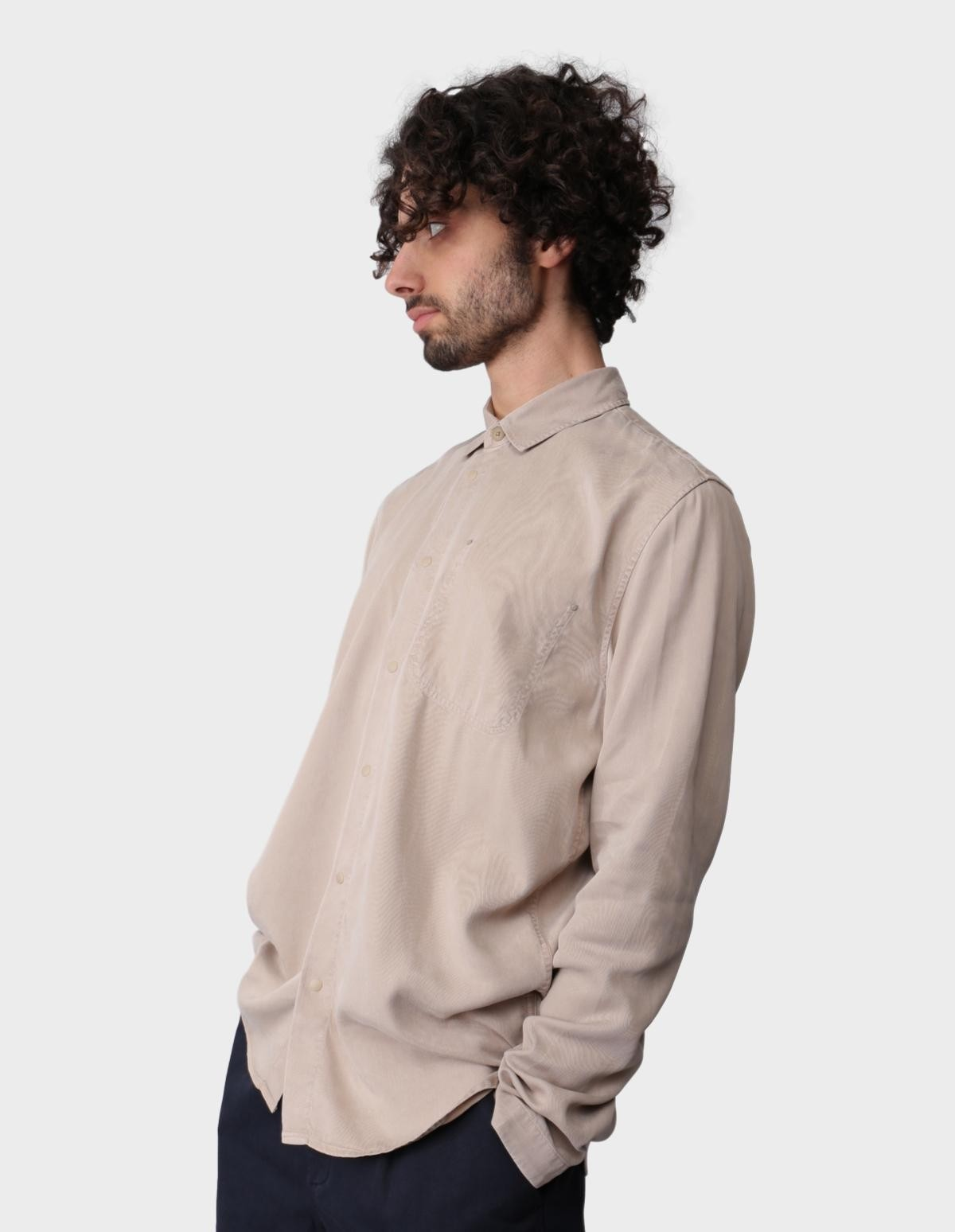 Folk Stitch Pocket Shirt in Fog