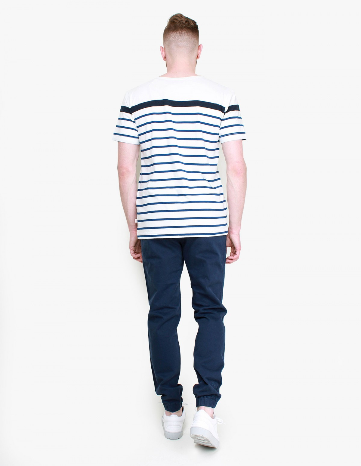 Knowledge Cotton Apparel Contrast Stripe Tee in Total Eclipse