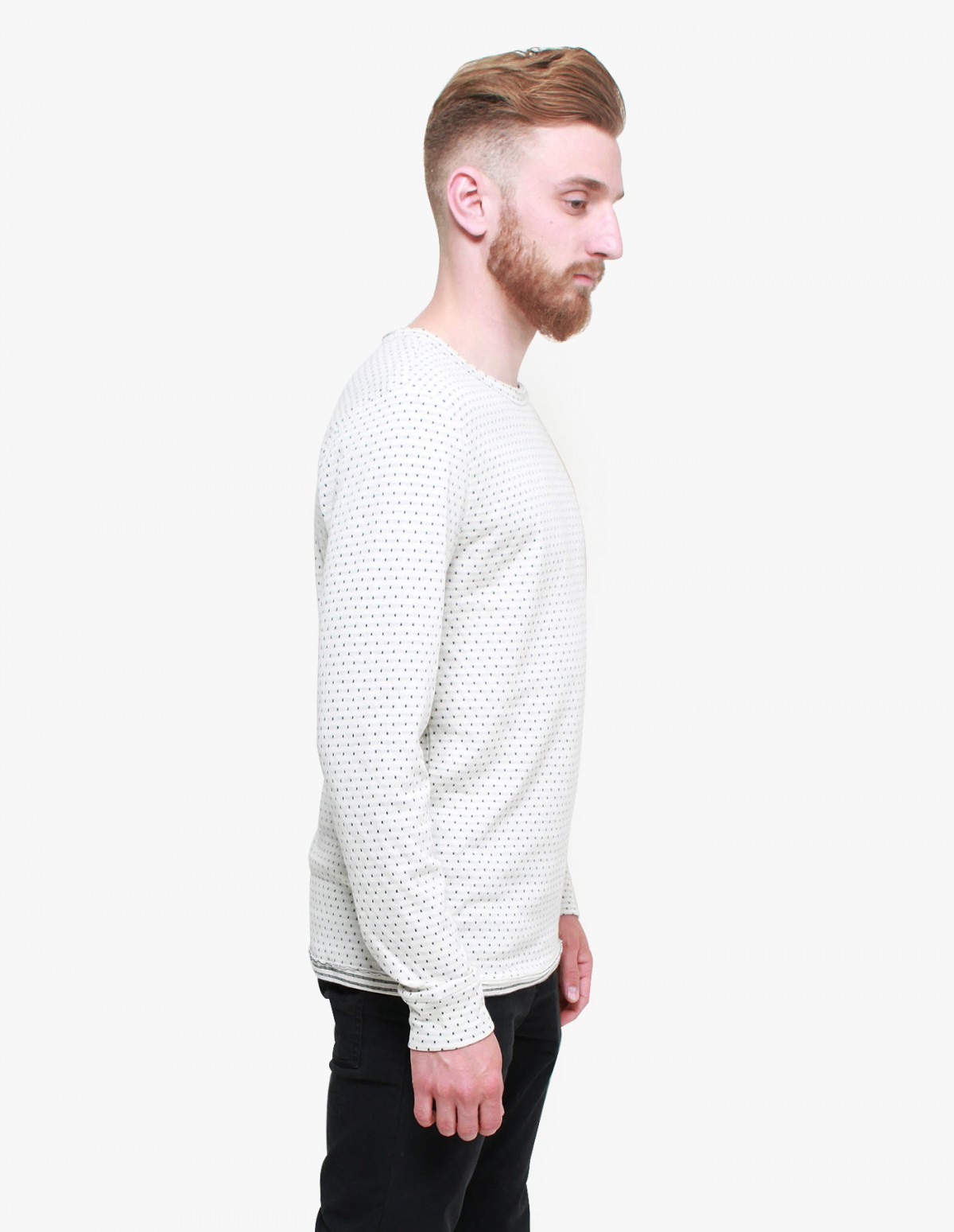 Knowledge Cotton Apparel Double Layer Long Sleeve in Winter White Polkadot