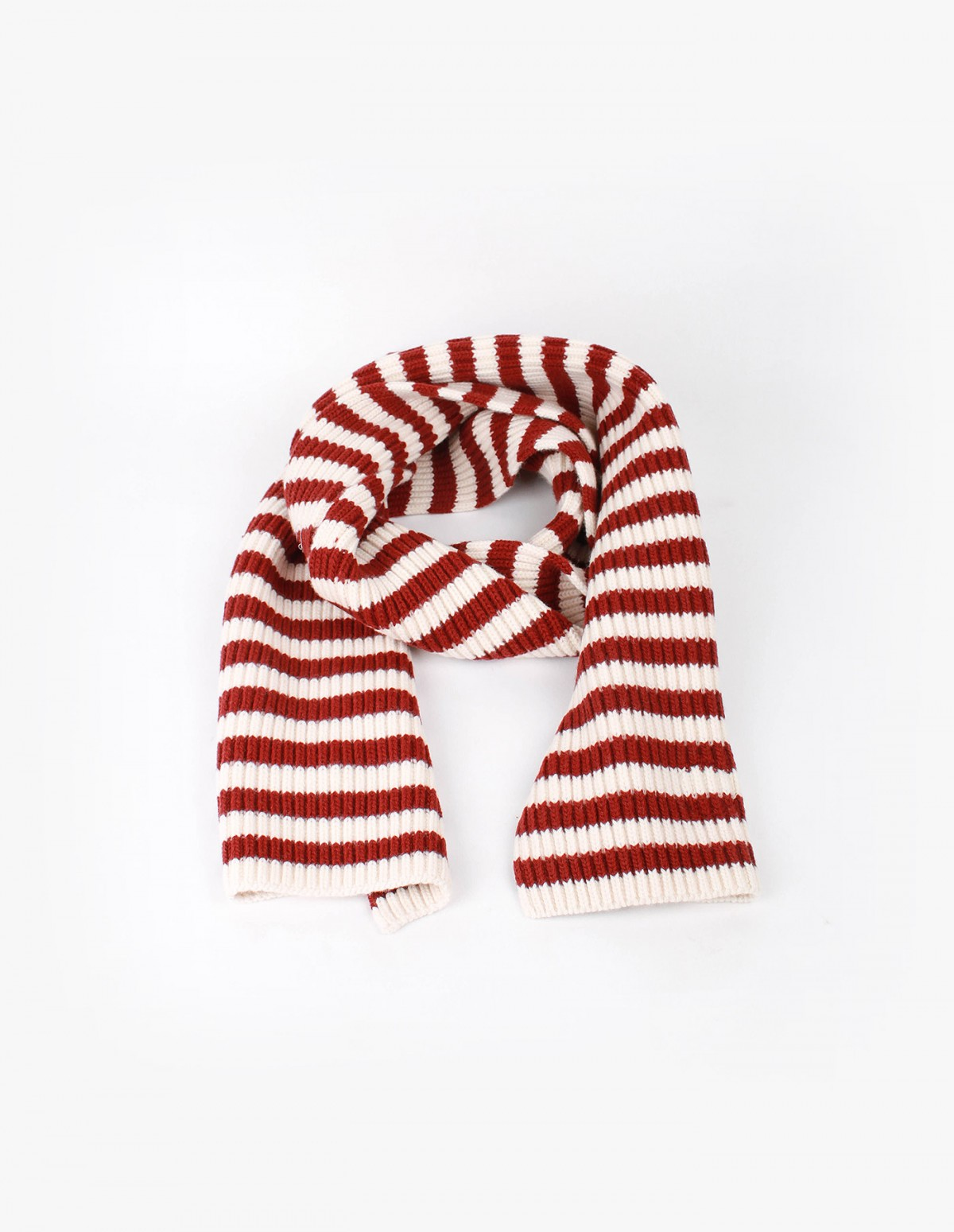 Knowledge Cotton Apparel Jacquard Knit Scarf in Winter White / Burgundy