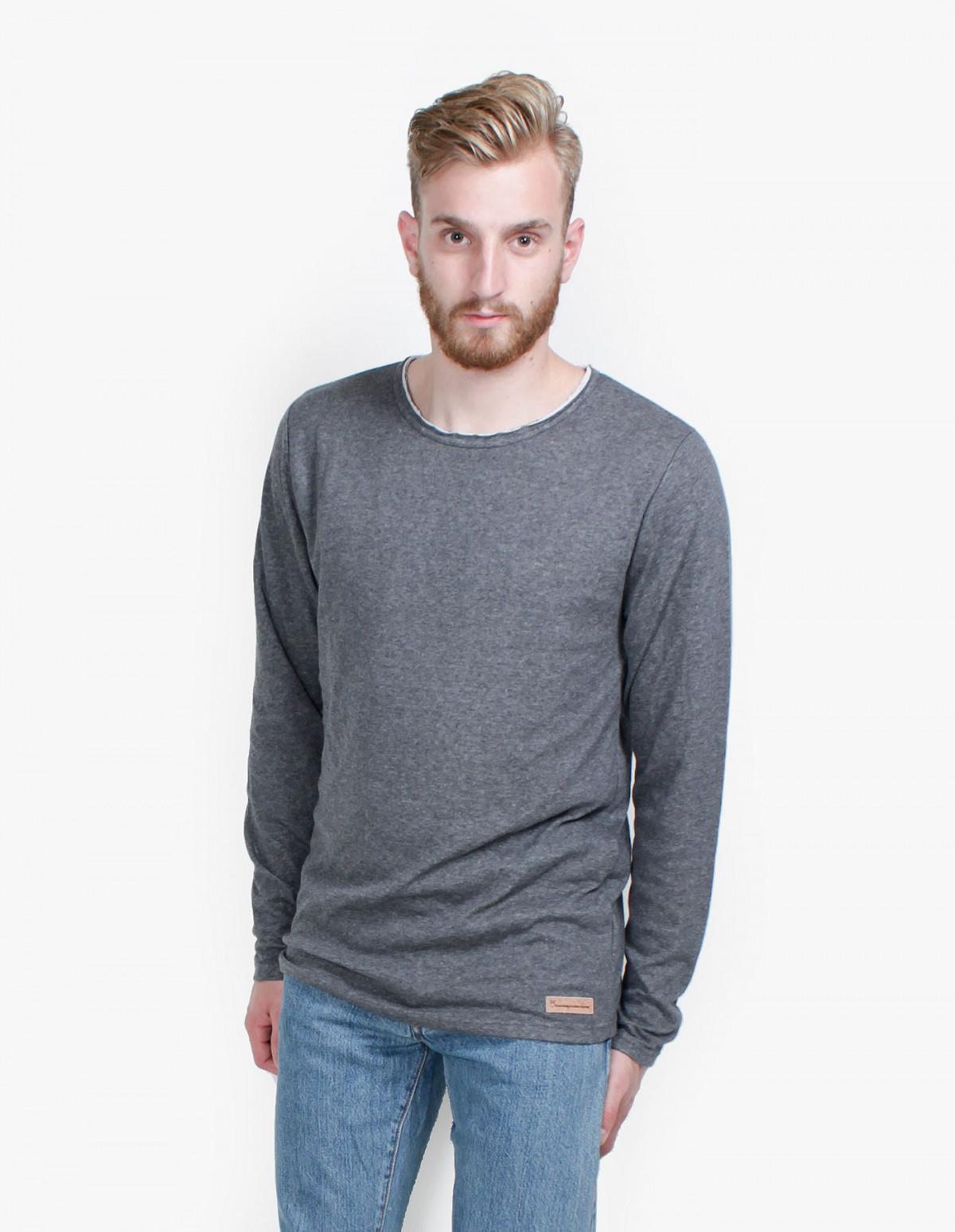 Knowledge Cotton Apparel Double Layer Long Sleeve in Grey Melange