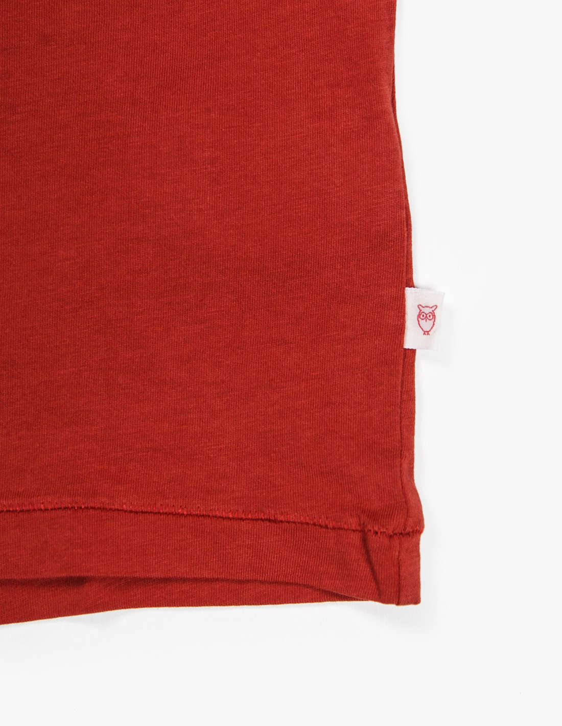 Knowledge Cotton Apparel Basic Pocket Tee in Red Ochre