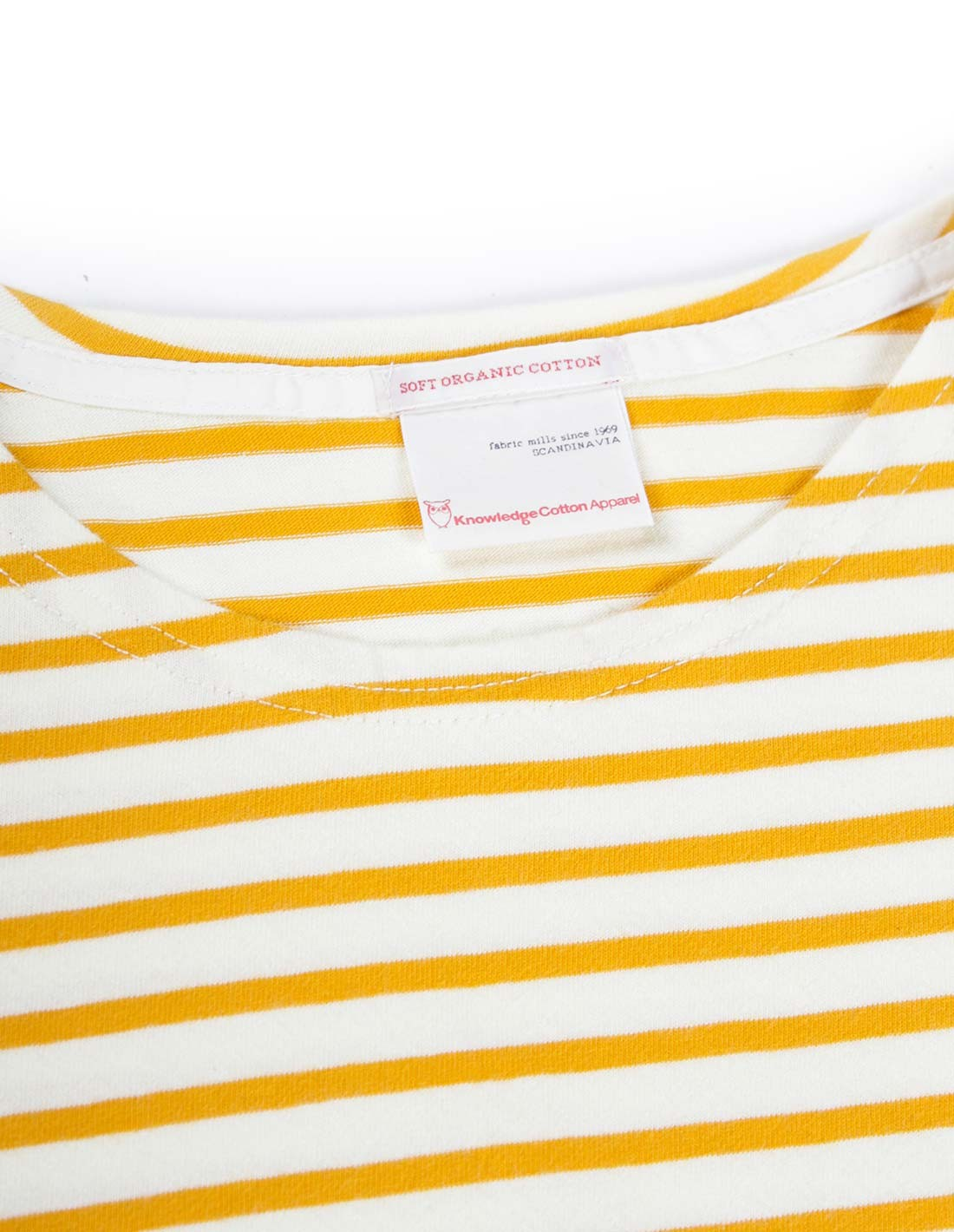 Knowledge Cotton Apparel Striped Tee in Yellow