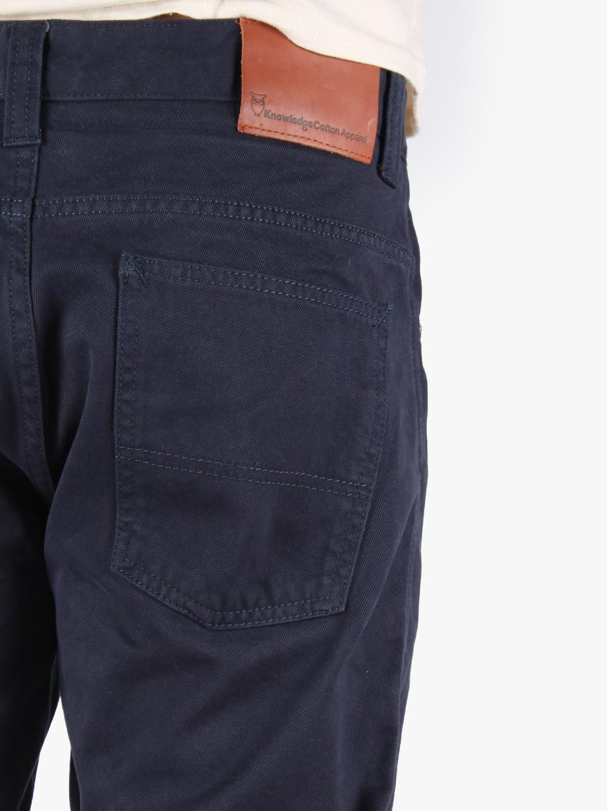 Knowledge Cotton Apparel 5 Pocket Twill Shorts in Total Eclipse