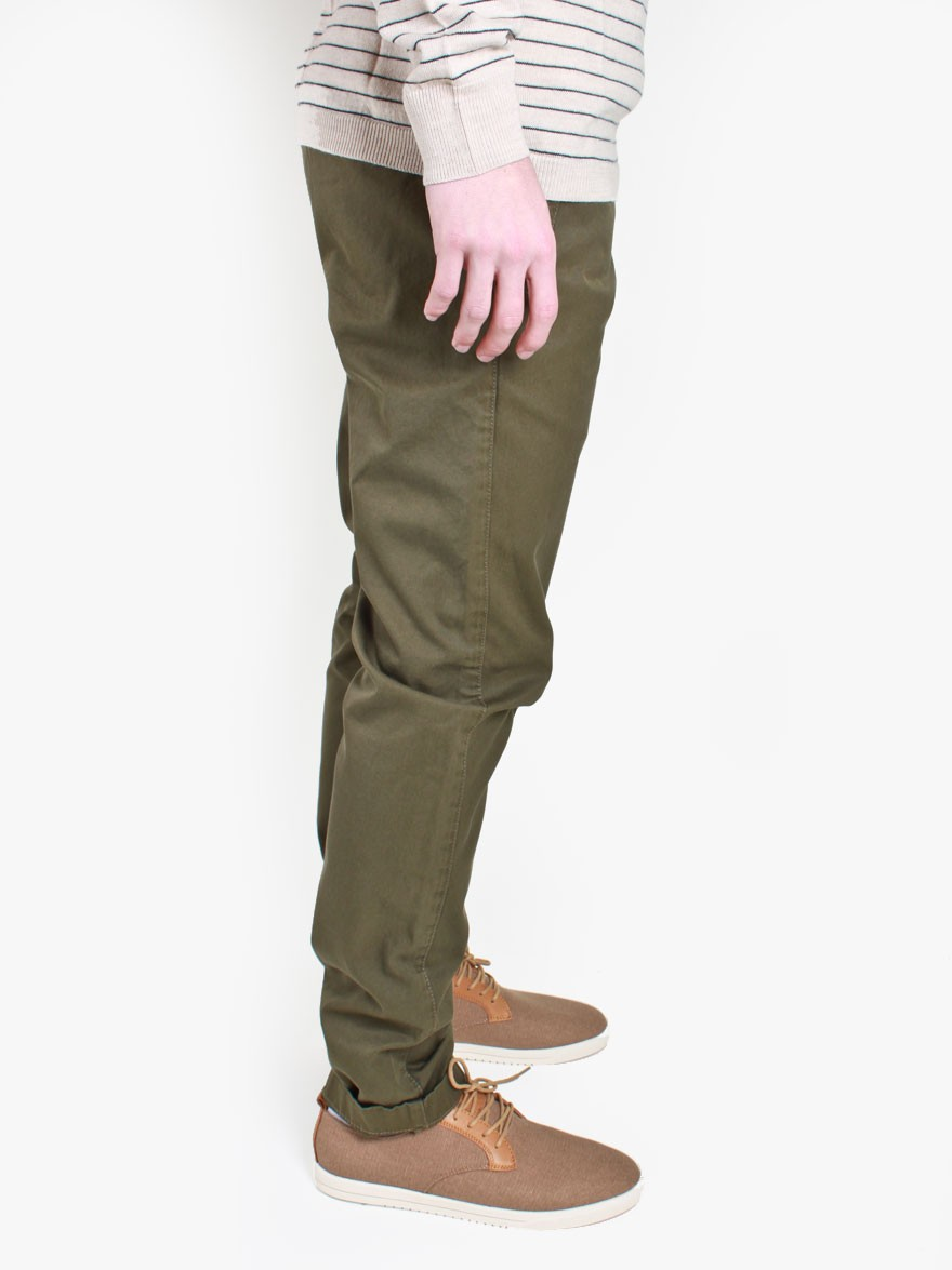 Knowledge Cotton Apparel Twill Chino in Burned Olive