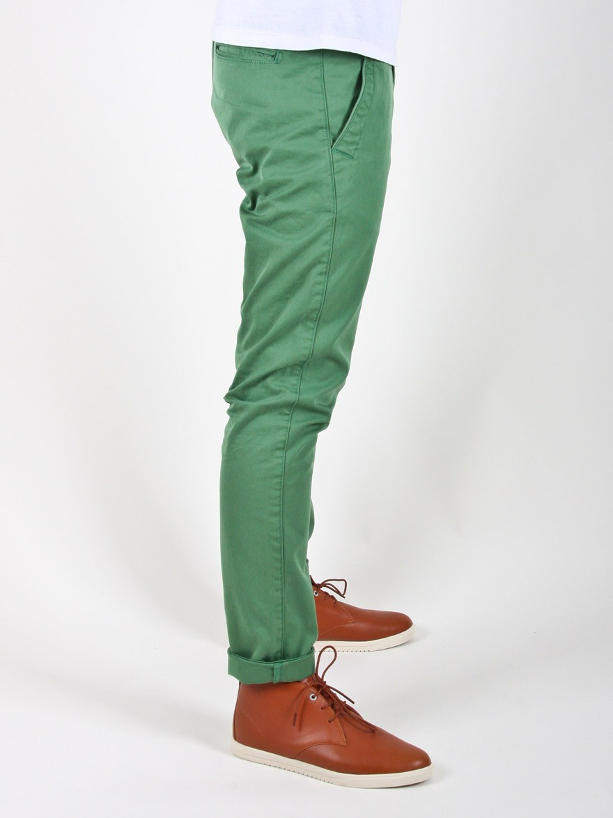 Knowledge Cotton Apparel Twisted Twill Chino in Fairway