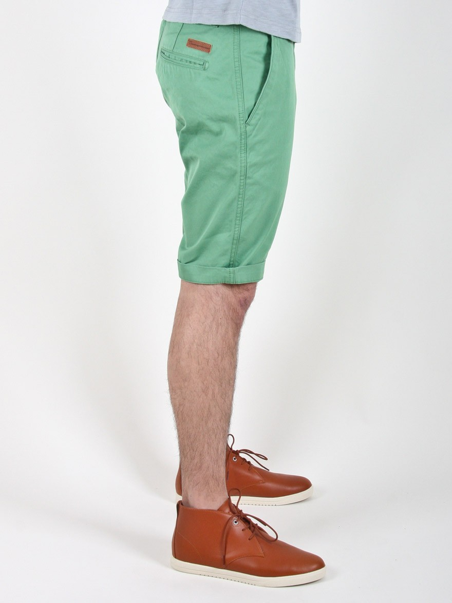 Knowledge Cotton Apparel Twisted Twill Shorts in Green