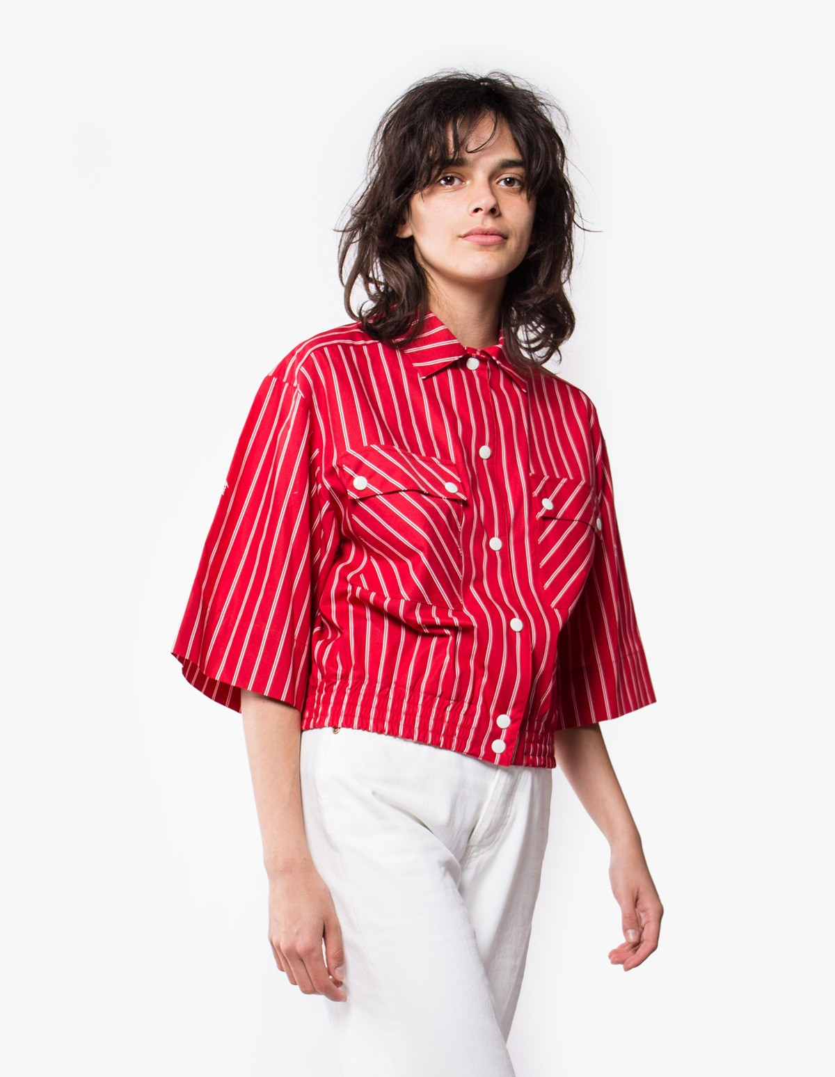 McQ Alexander McQueen Press Stud Utility Blouson in Cadillac red