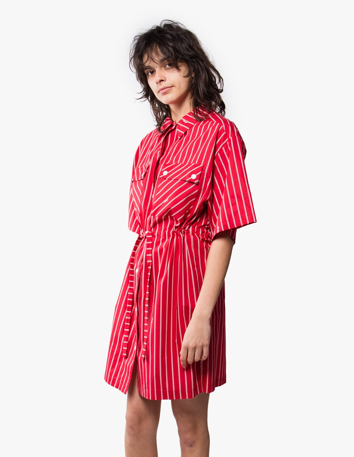 McQ Alexander McQueen Press Stud Utility Dress in Cadillac Red