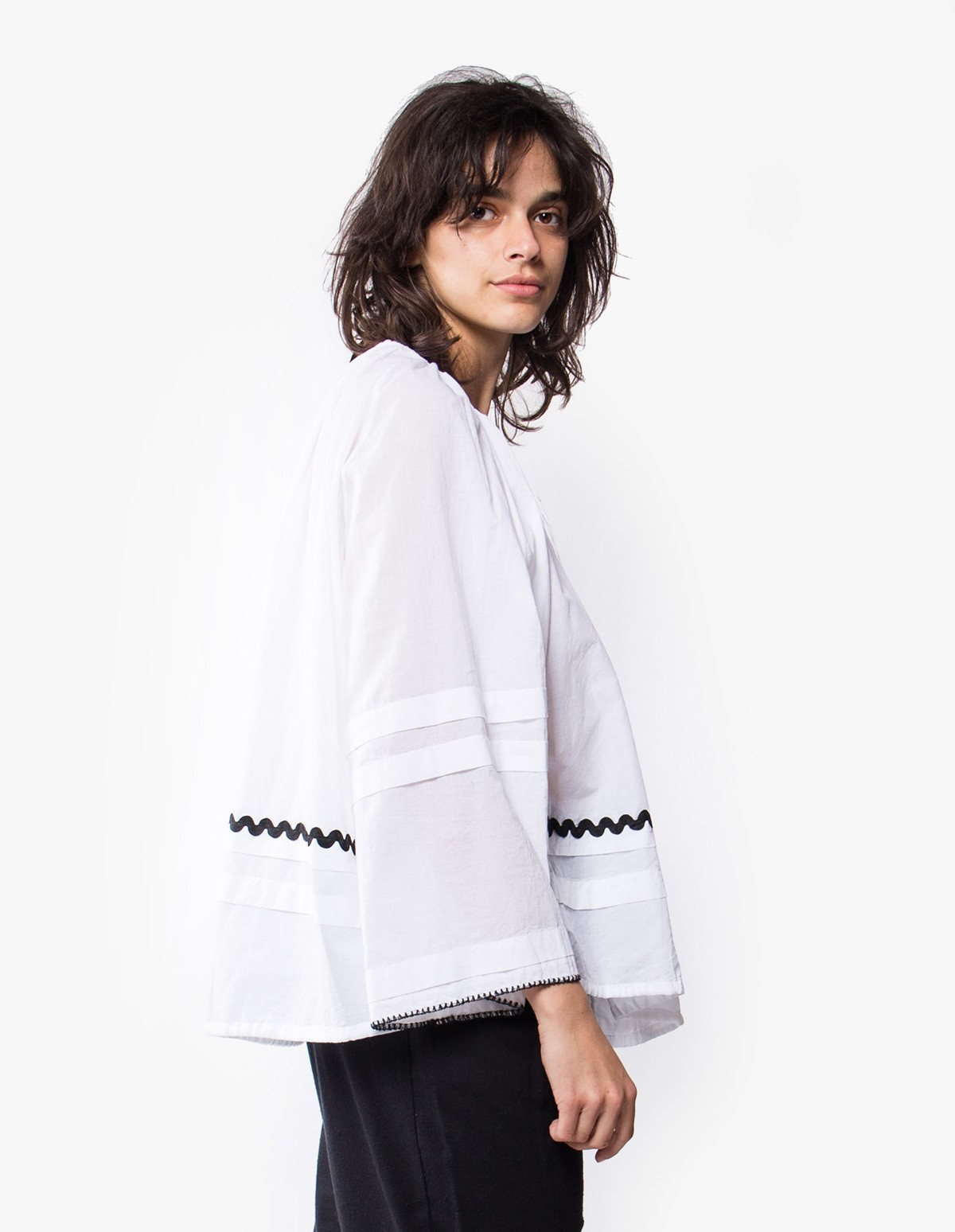 McQ Alexander McQueen Romantic Button Up Blouson  in Optic White