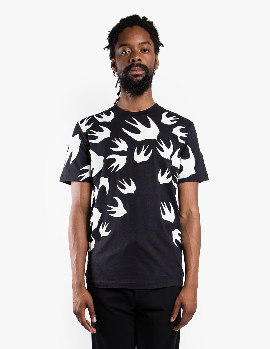 McQ Alexander McQueen Swallow Signature T-Shirt in Black