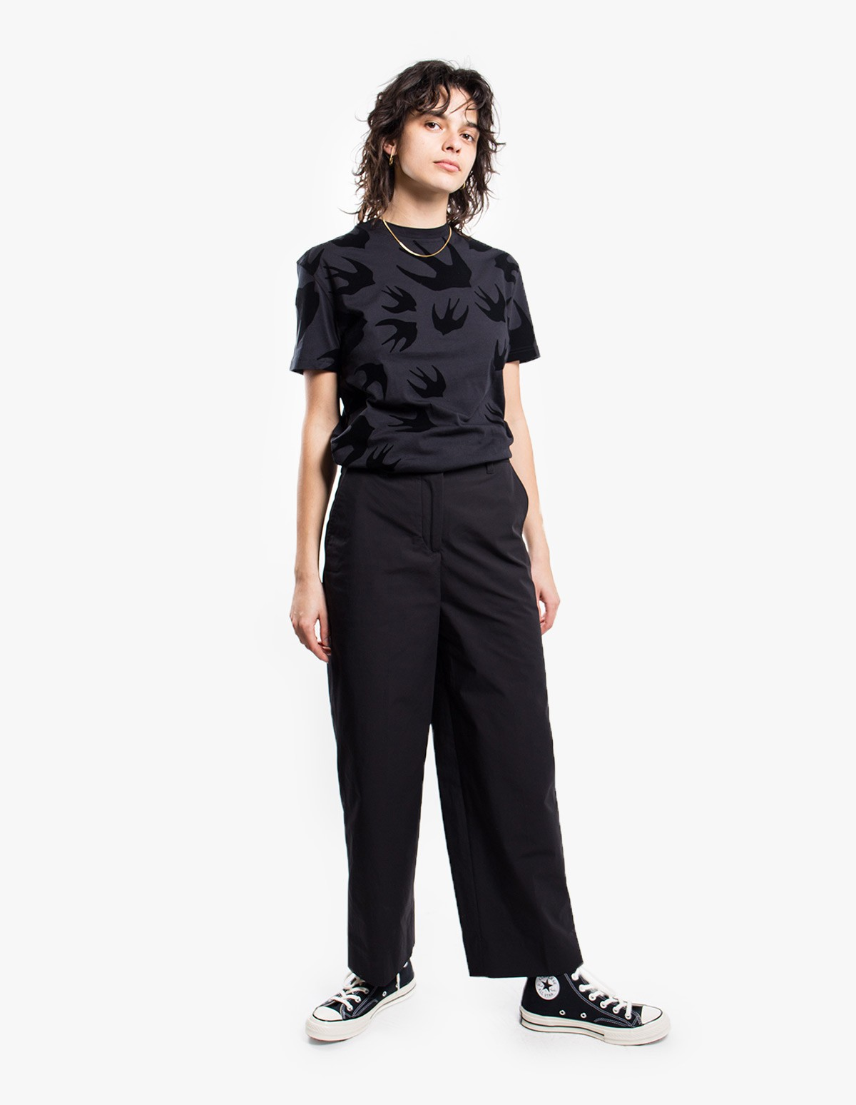 McQ Alexander McQueen Classic T-shirt in Black on Darkest Black